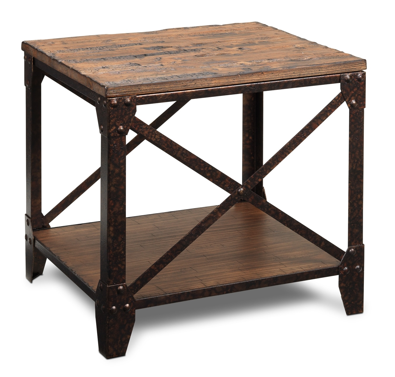 Pinebrook end table distressed natural pine leon 39 s for Furniture end tables
