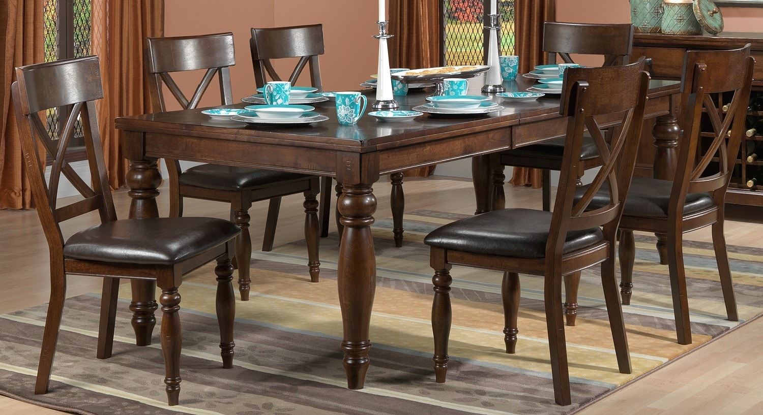 Kingstown 7 piece dining room set chocolate leon 39 s for Rooms to go dining sets
