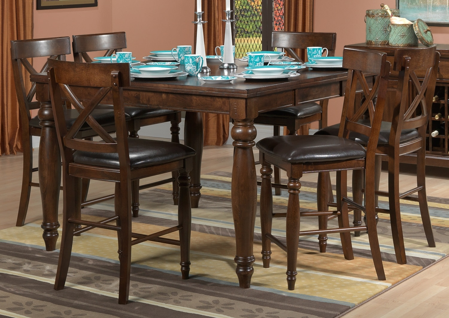 Dining Room Furniture - Kingstown 7-Piece Pub-Height Dining Room Set - Chocolate