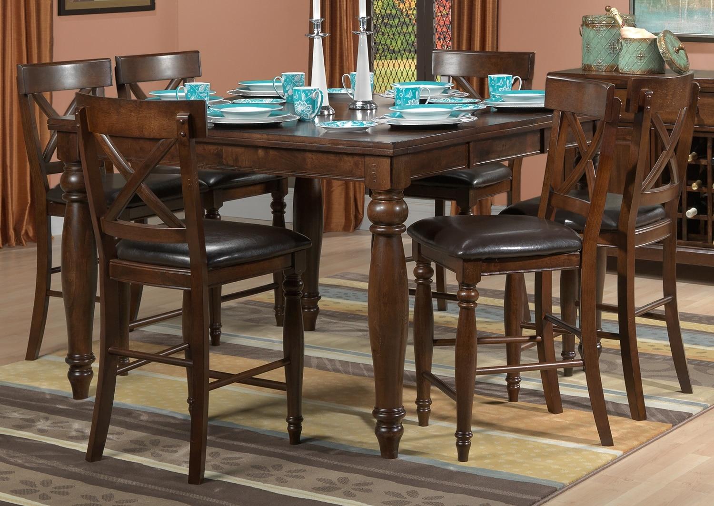 kingstown 7 piece pub height dining room set chocolate leon 39 s. Black Bedroom Furniture Sets. Home Design Ideas