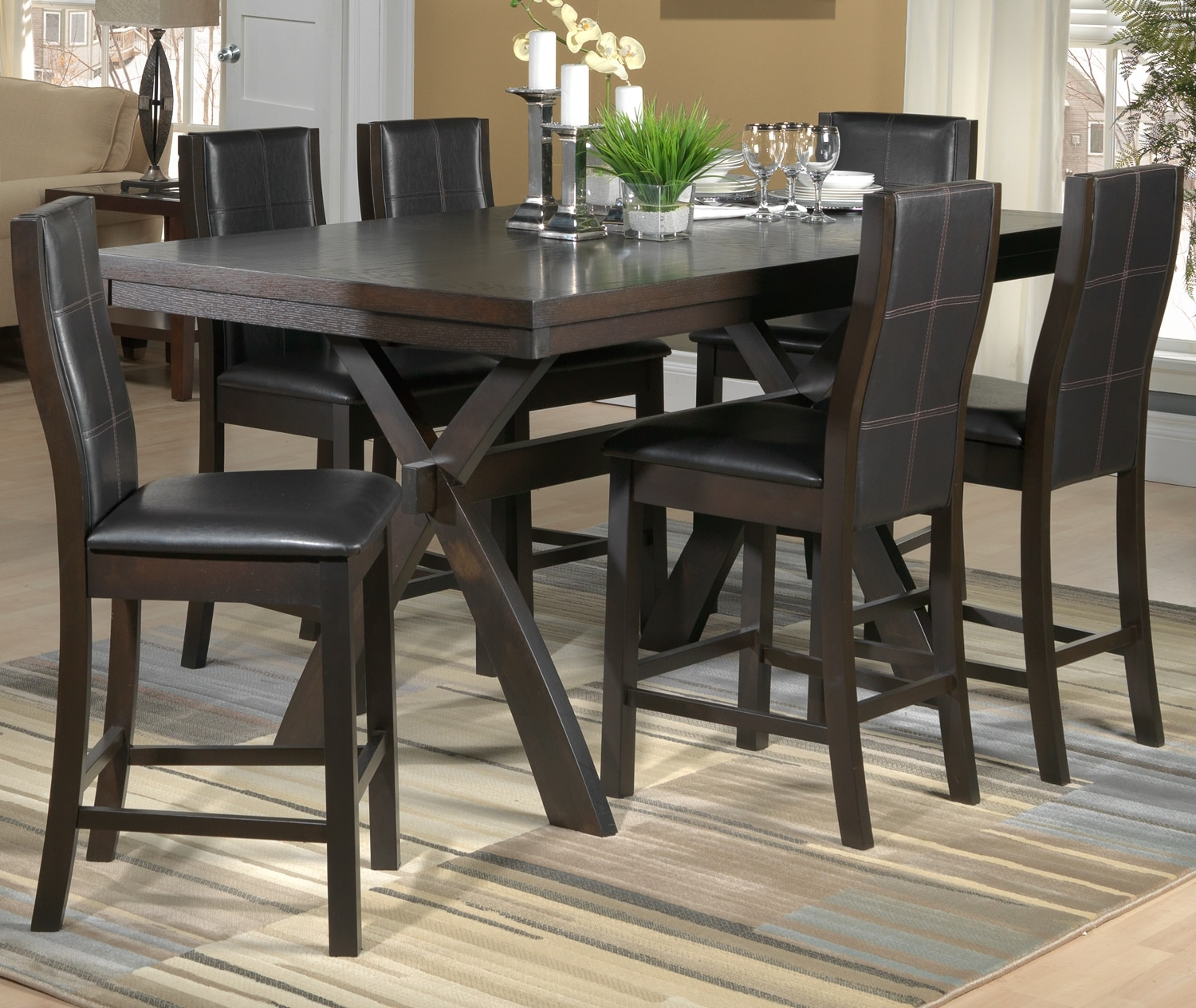 Grethell 7 piece pub height dining room set espresso for 7 piece dining room set