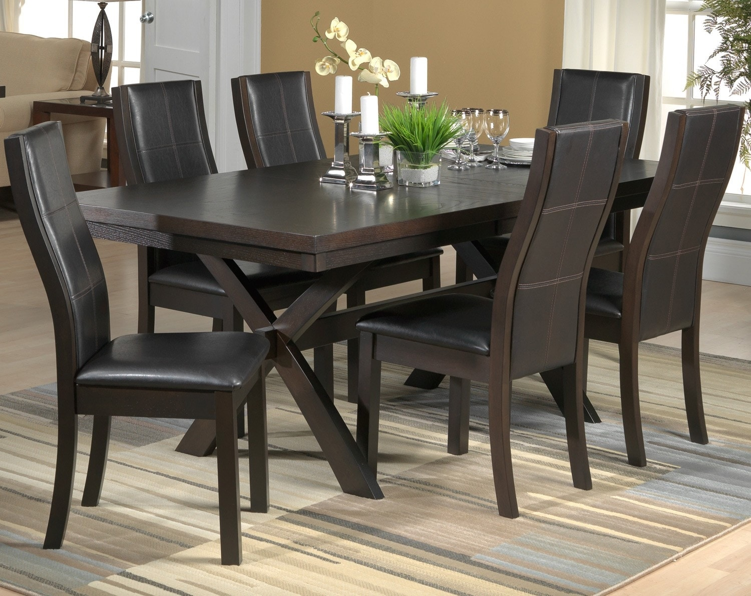 Grethell 7 piece dining room set espresso leon 39 s for Meuble chez leon quebec