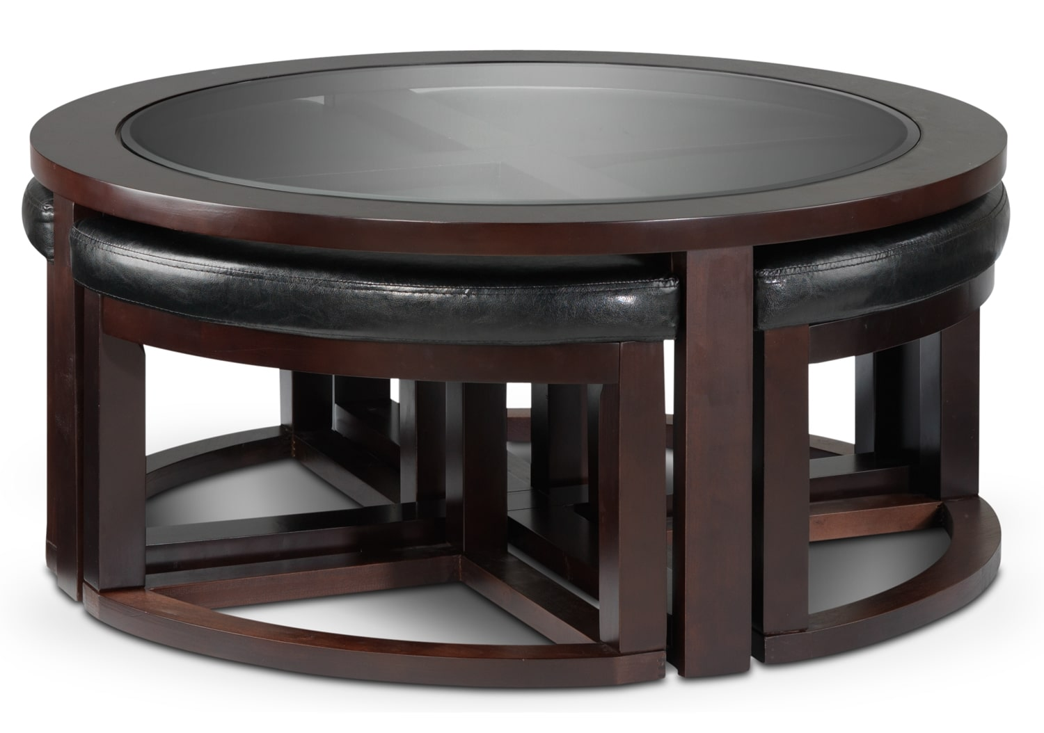 Emma coffee table w four ottomans espresso leon 39 s for K furniture coffee table