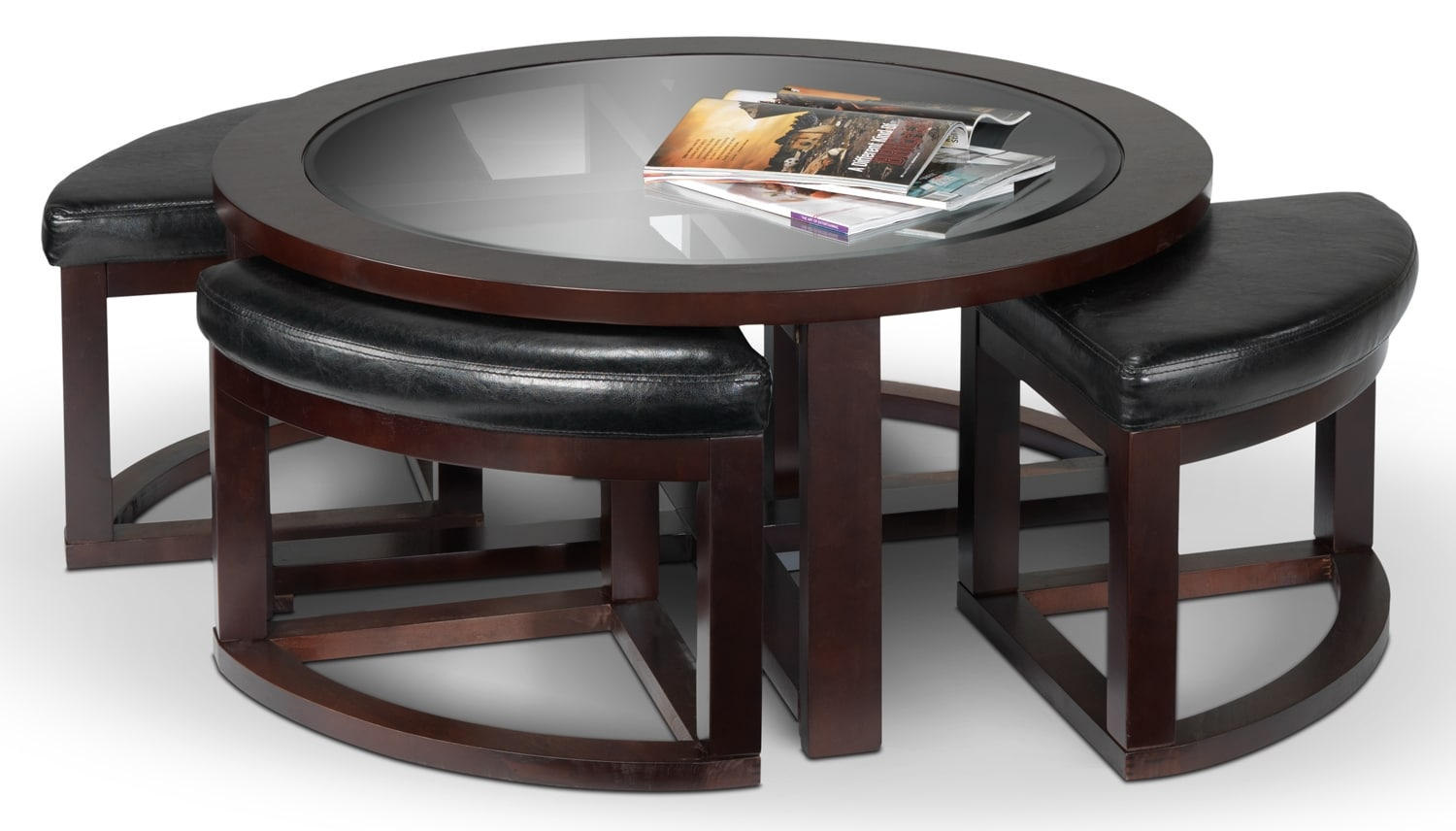 Neera Coffee Table W Four Ottomans Black Leon 39 S BROWN