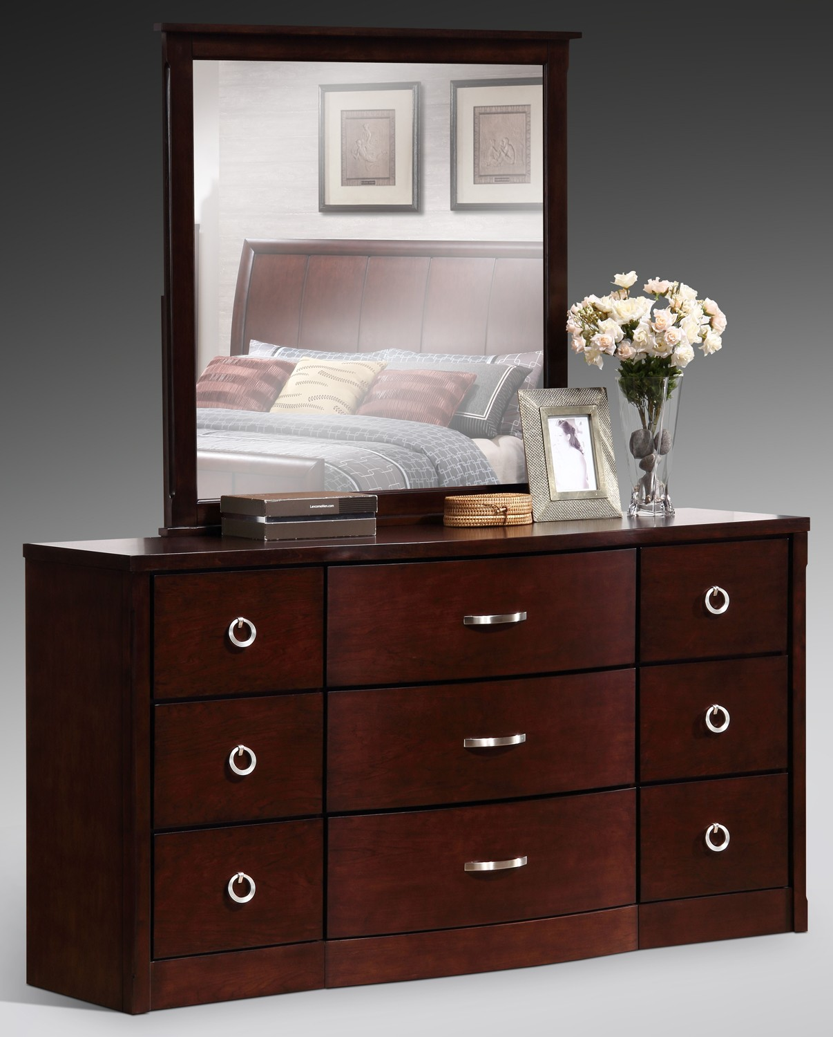 Manhattan matching footboard pc antique walnut bedroom set for Matching bed and dresser