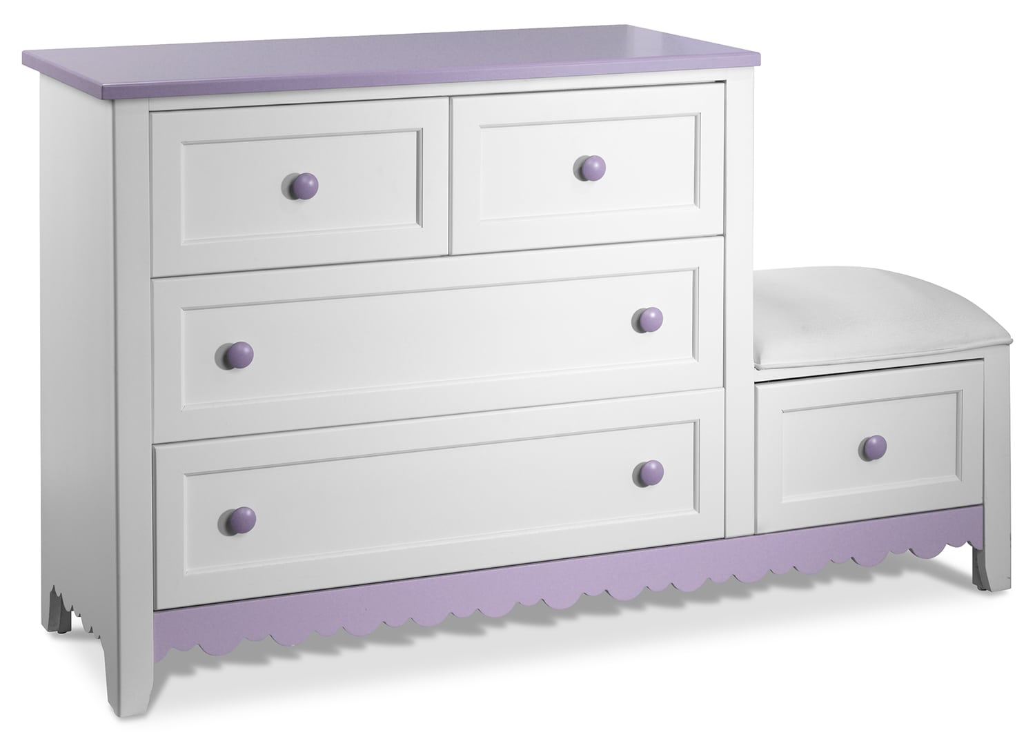 Kids Furniture - Sweetdreams Dresser - White and Lavender
