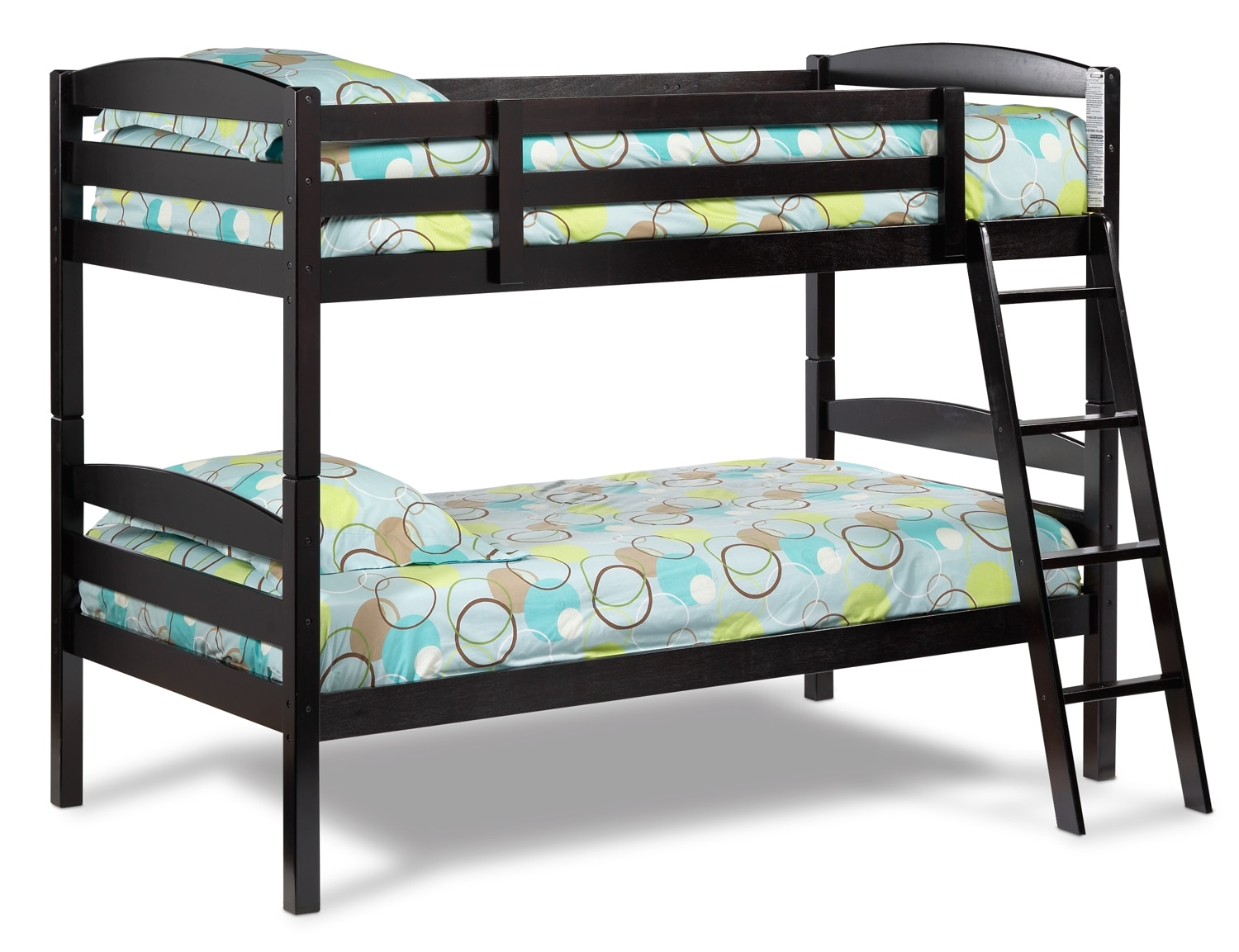 Kids Furniture - Charlie Bunk Bed Set - Dark Chocolate