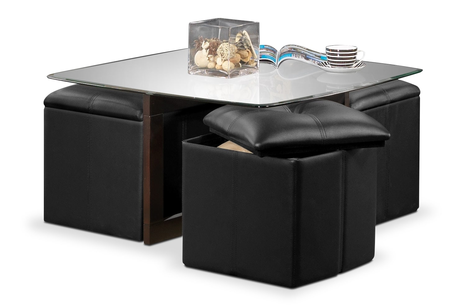 Neera coffee table w four ottomans black leon 39 s Black ottoman coffee table