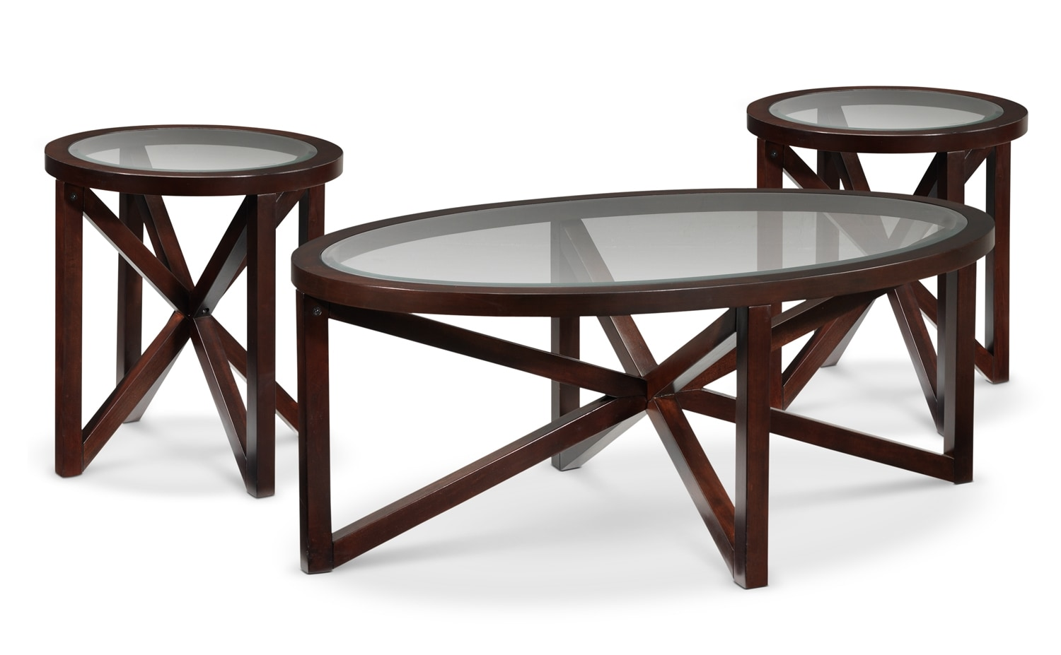 Asterix coffee table and two end tables espresso leon 39 s for Coffee end tables