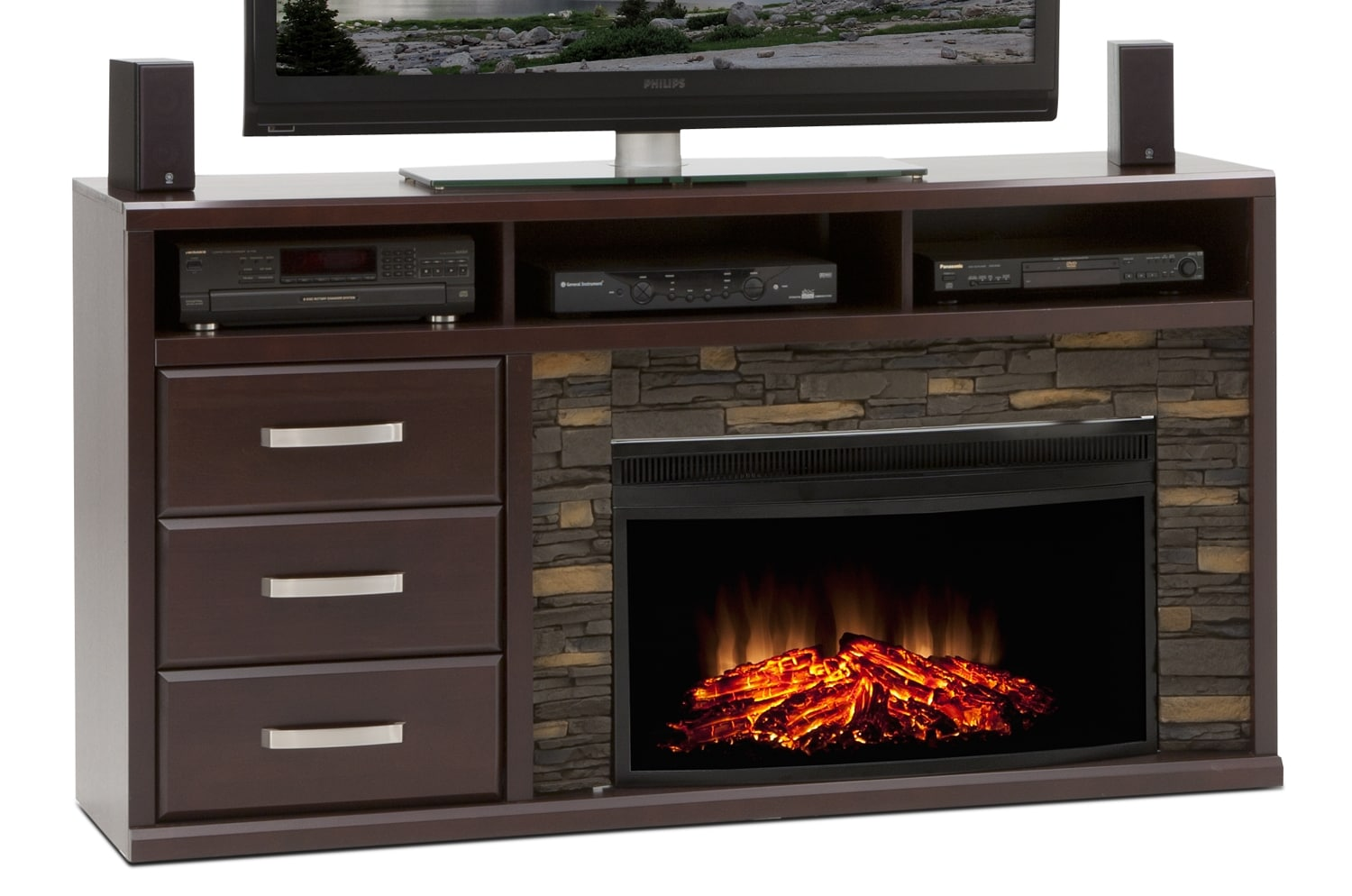Entertainment Furniture - Gamble Fireplace Credenza - Bordeaux
