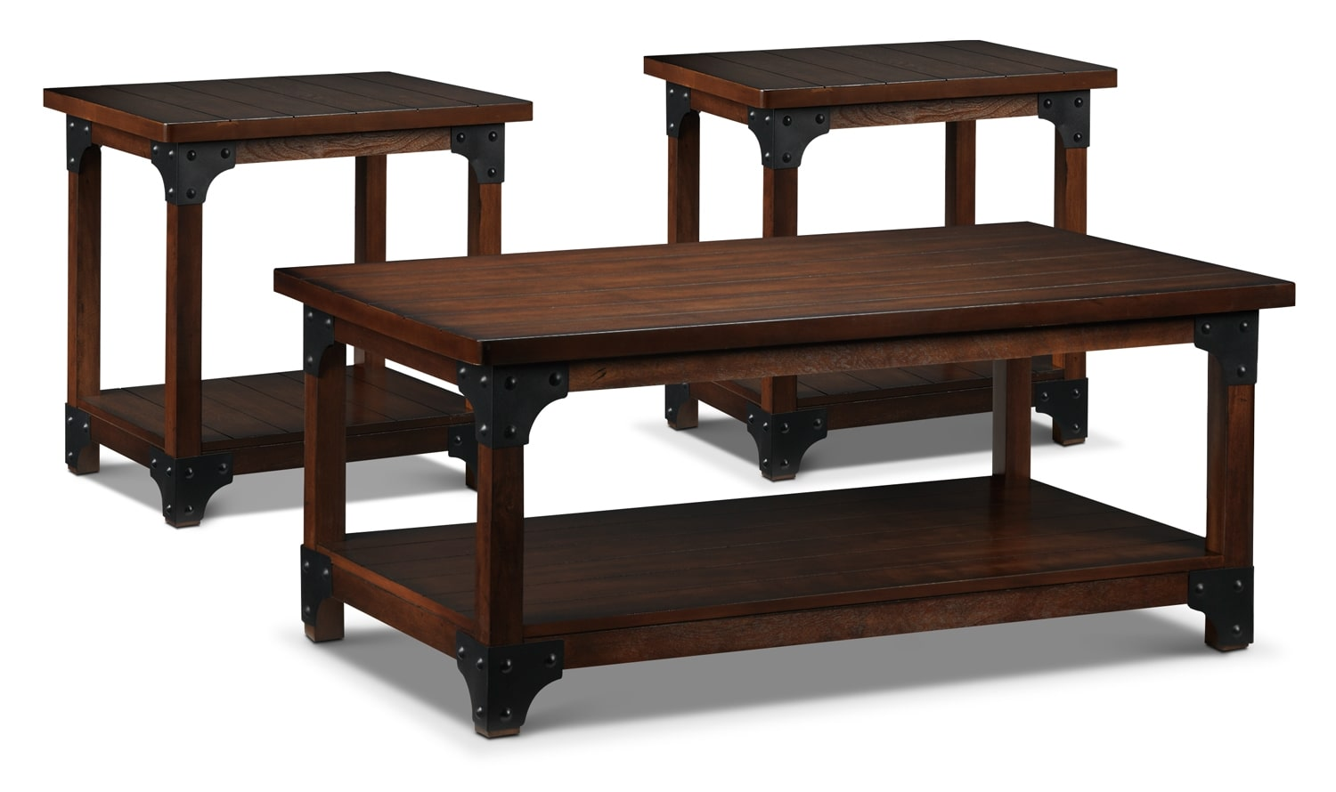 Wellington coffee table and two end tables walnut leon 39 s - Brickmakers coffee table living room ...