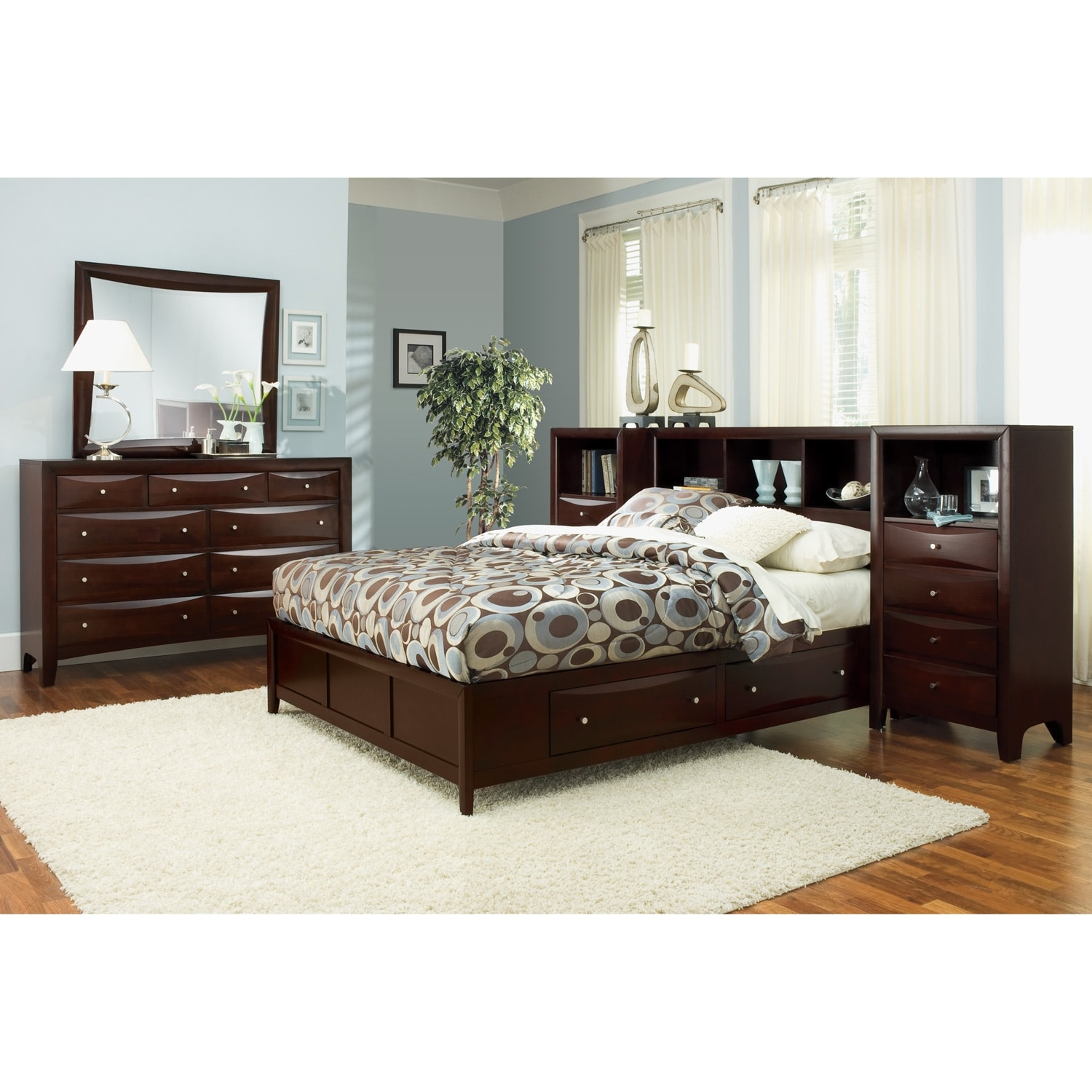 Kensington bedroom queen wall bed with piers for Looking for bedroom furniture
