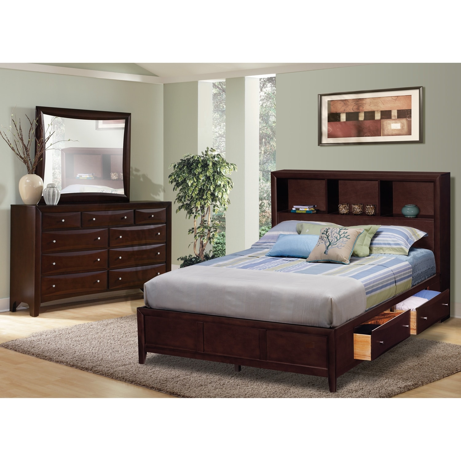 clarion bedroom 5 pc. king wall bedroom - value city furniture