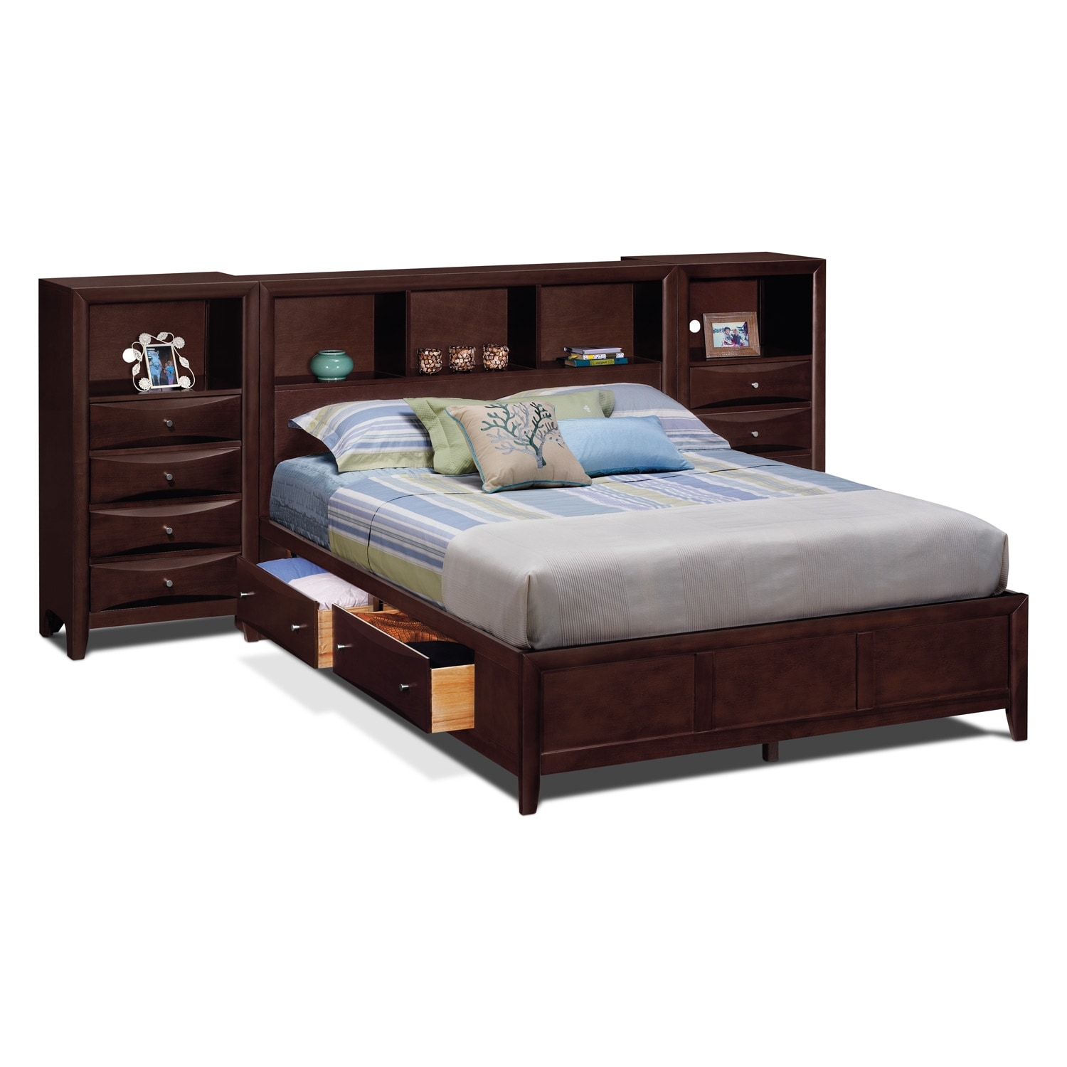 Kensington bedroom queen wall bed with piers for Bedroom furniture queen