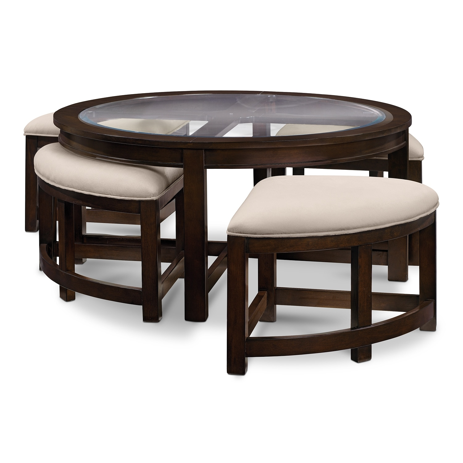 Four corners cocktail table w 4 benches merlot value city furniture for Round living room table sets