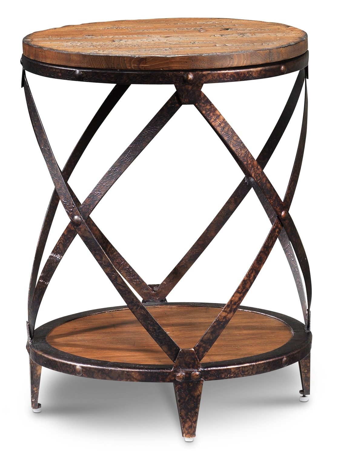 Pinebrook round end table distressed natural pine leon 39 s for Occasional furniture