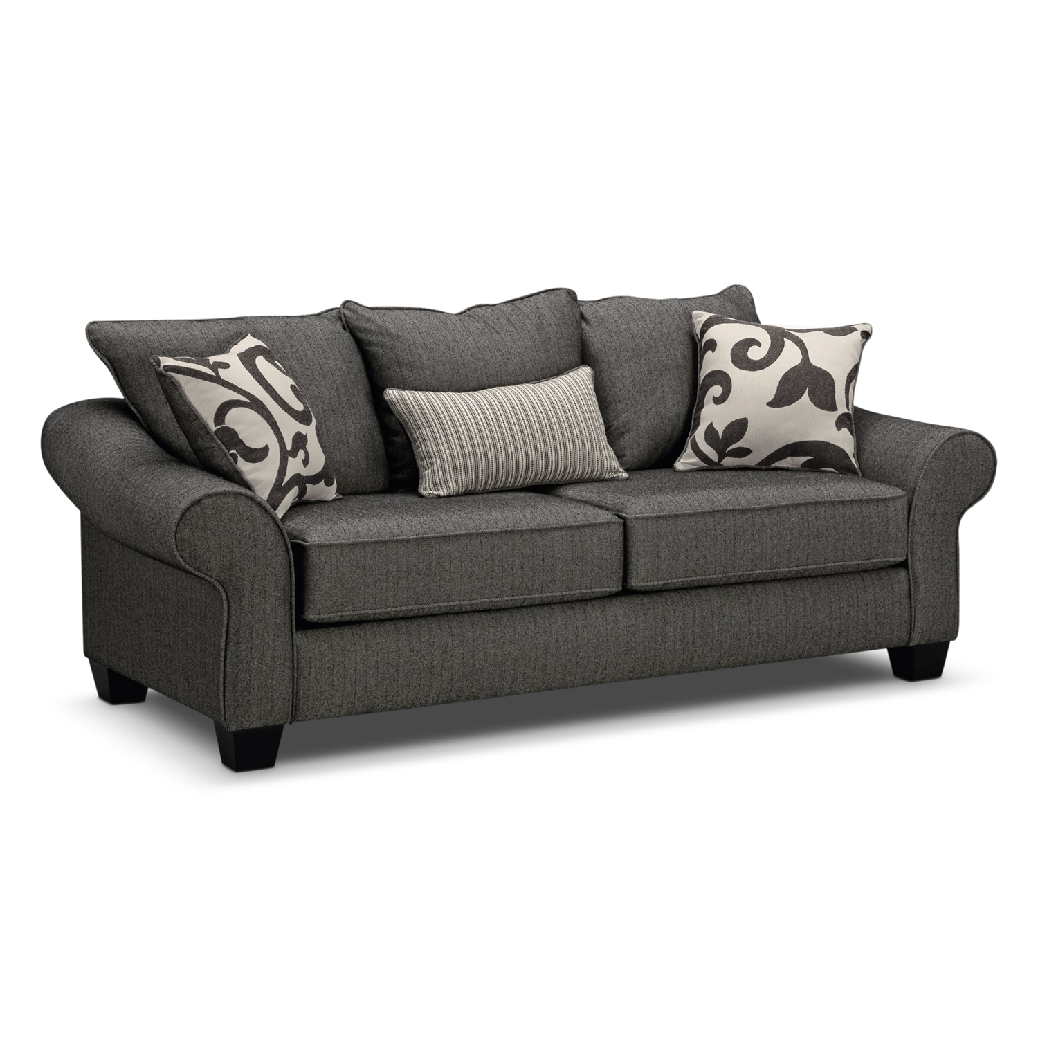 Colette gray sofa value city furniture for Furniture sofas and couches