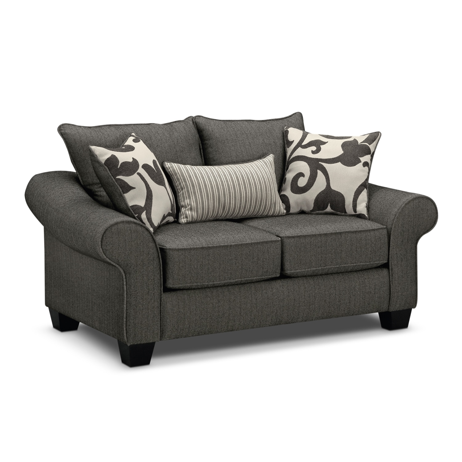 Colette sofa loveseat and accent chair set gray value for Couch und sofa