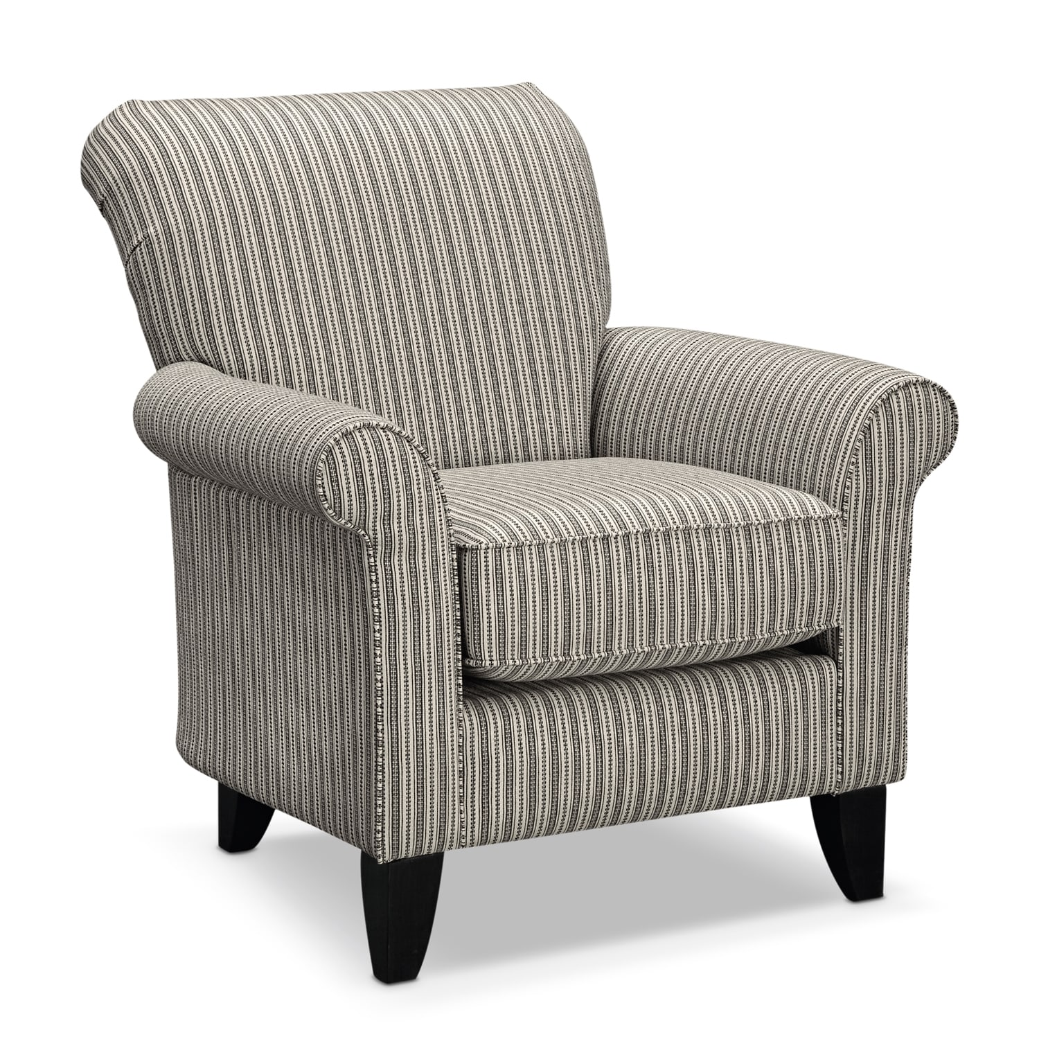 Colette accent chair gray stripe value city furniture for Upholstery living room furniture