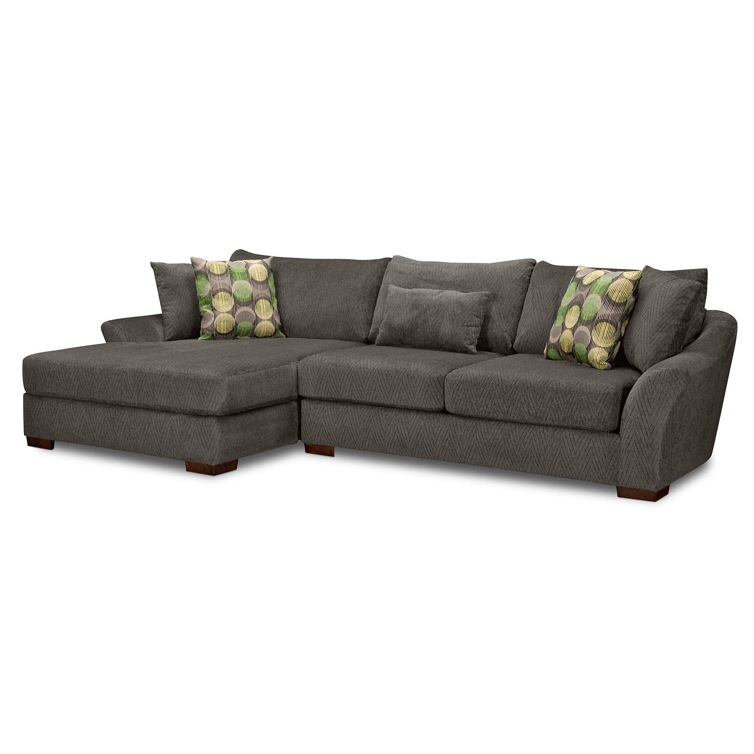 Living Room Furniture - Orleans Gray 2 Pc. Sectional