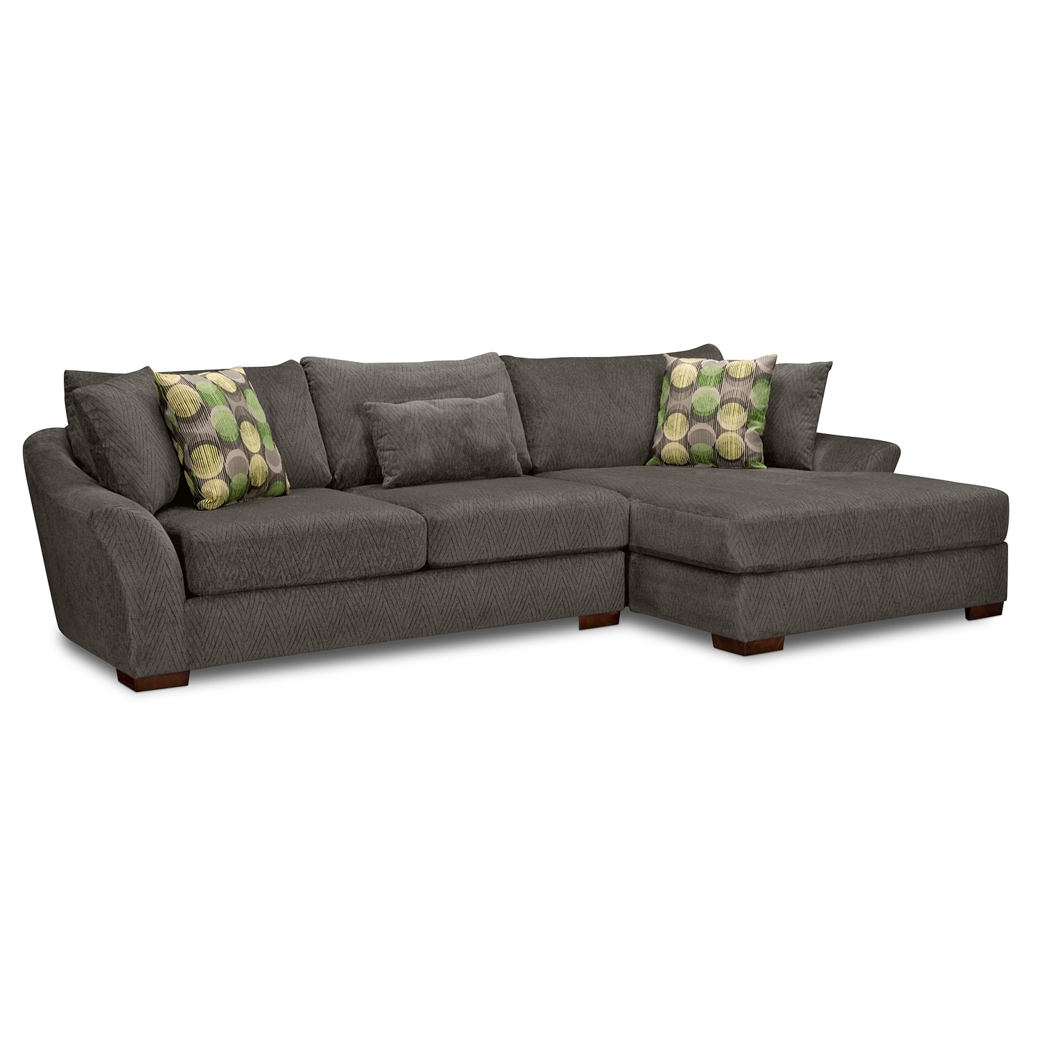 Living Room Furniture - Orleans Gray 2 Pc. Sectional (Reverse)