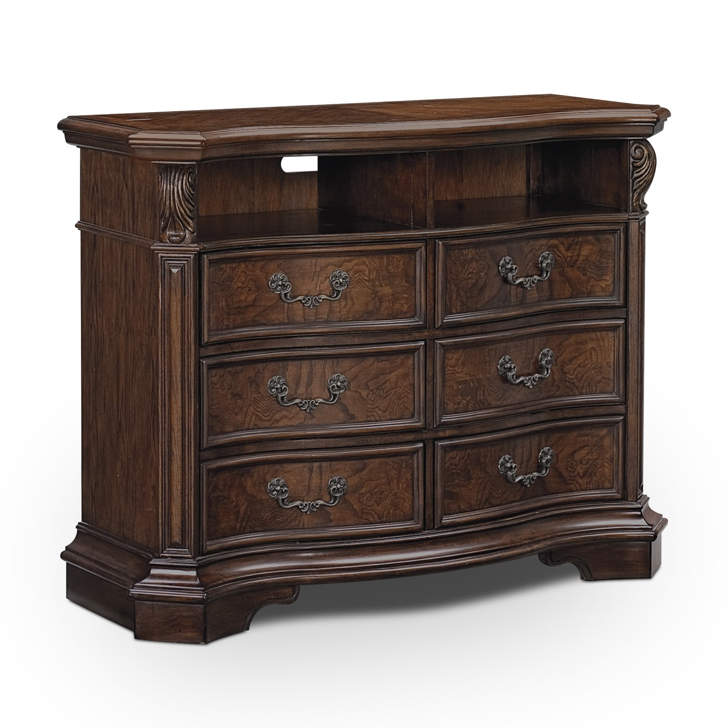 monticello pecan bedroom media chest value city furniture. Black Bedroom Furniture Sets. Home Design Ideas
