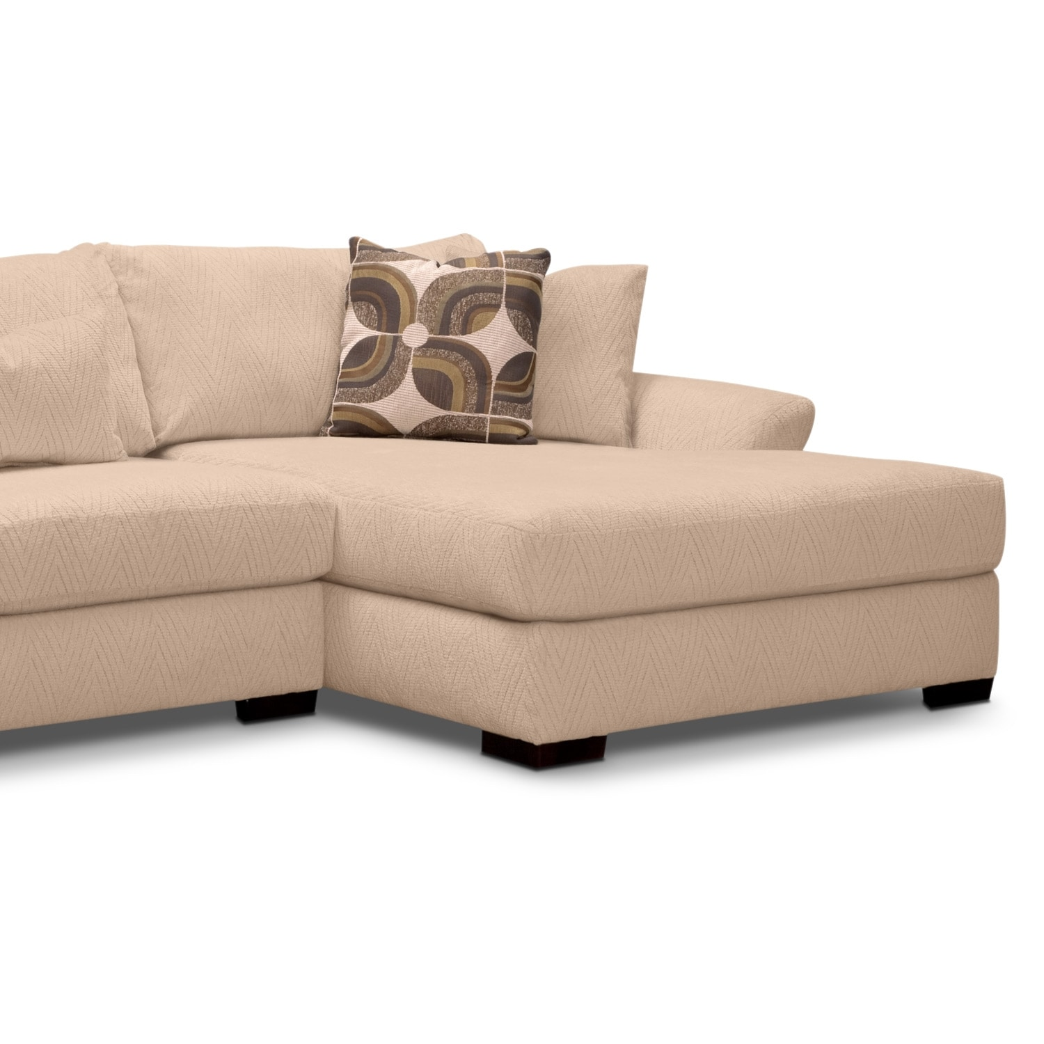 Orleans cream upholstery 2 pc sectional reverse for Sectional sofas new orleans