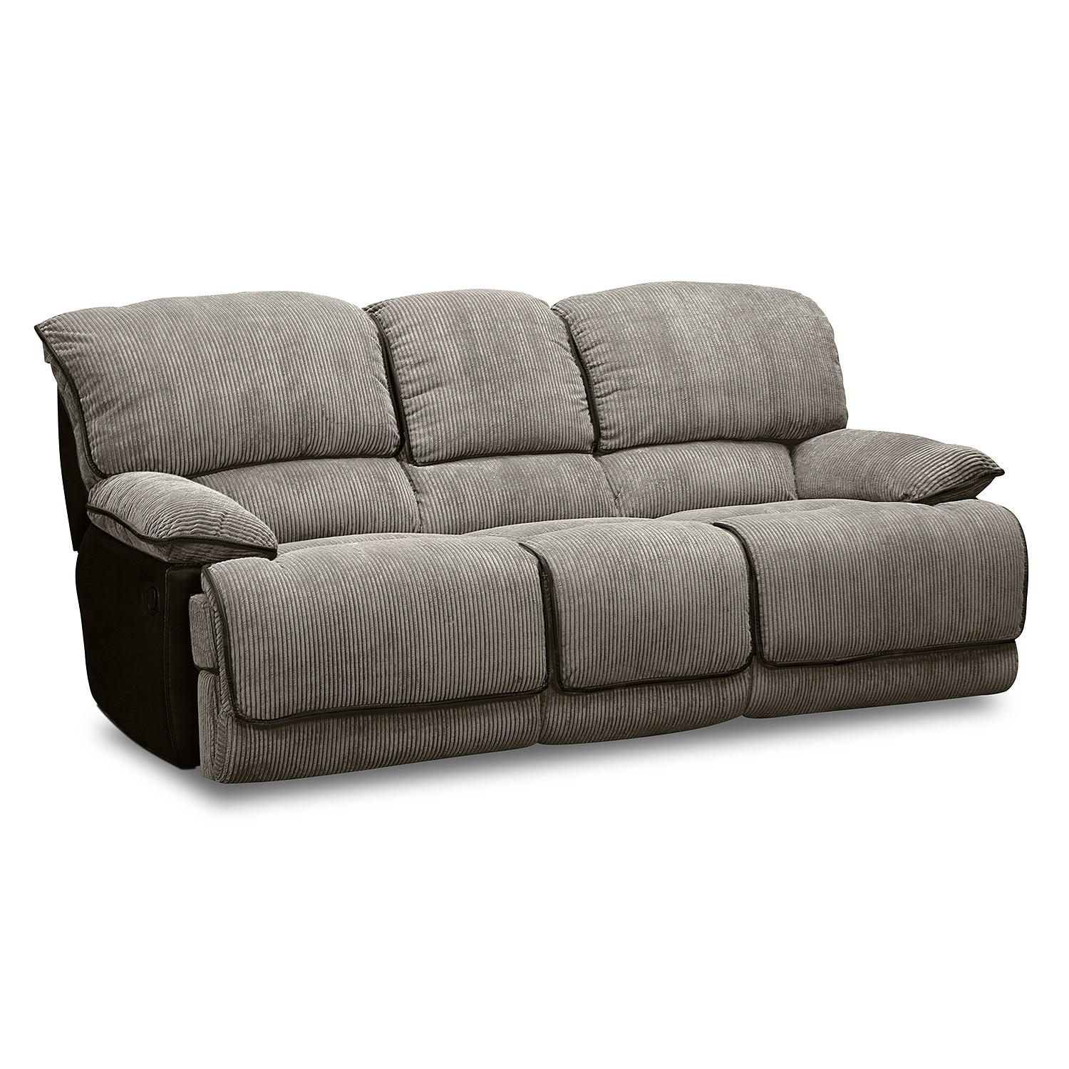Laguna dual reclining sofa steel value city furniture for Furniture sofas and couches