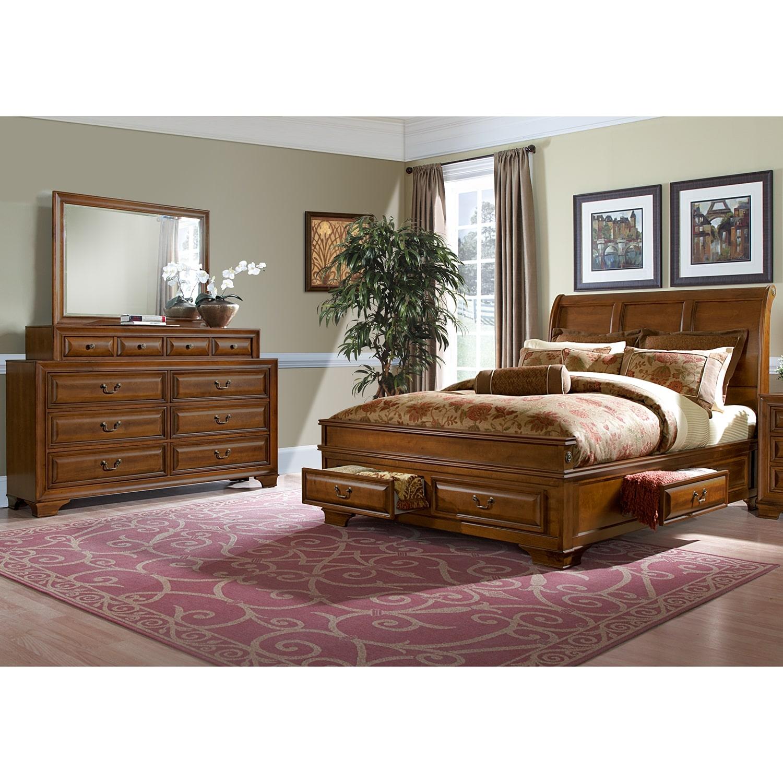 Sanibelle 5 piece queen storage bedroom set pine value city furniture for Queen bedroom furniture sets with storage