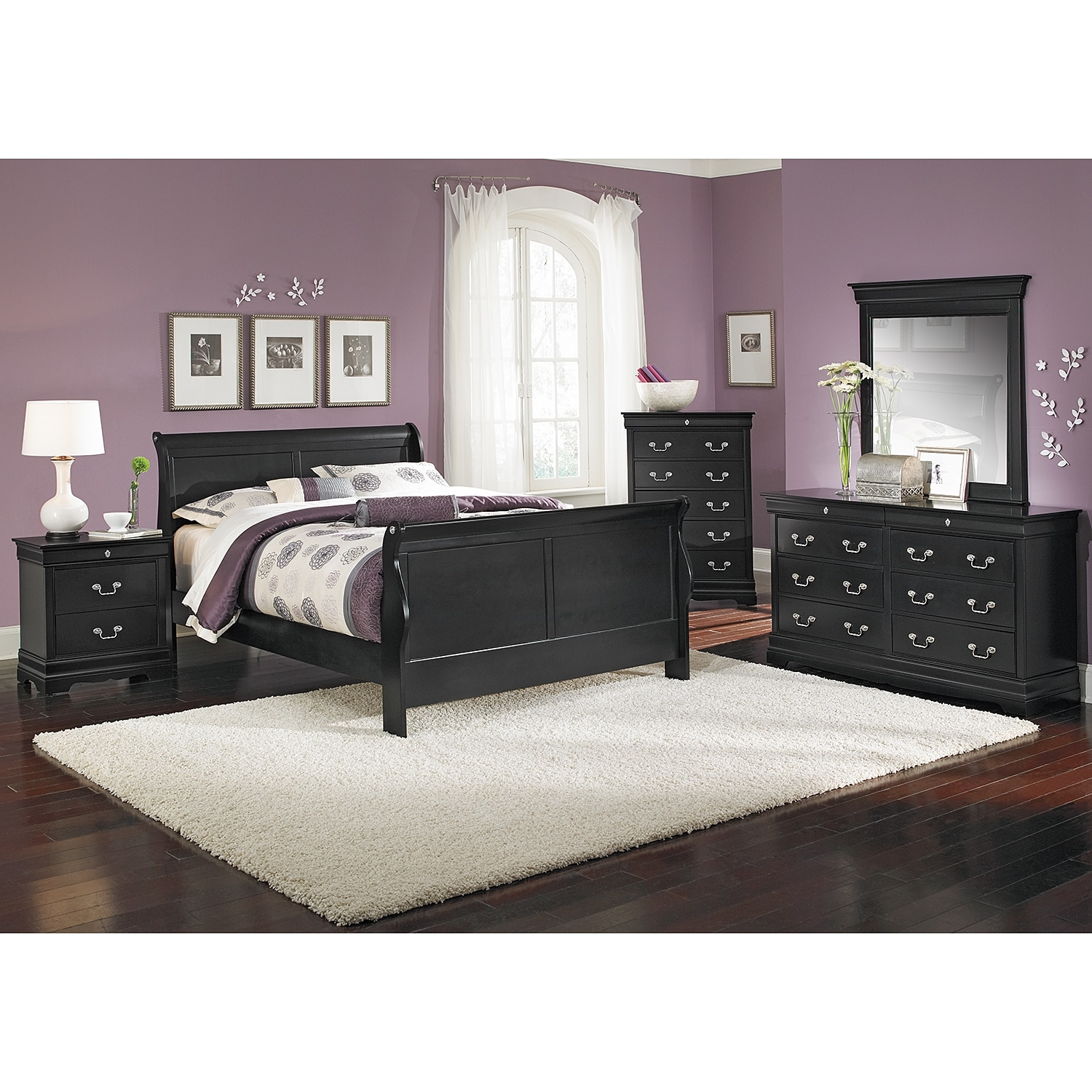 Neo classic 7 piece king bedroom set black american for American furniture bedroom furniture
