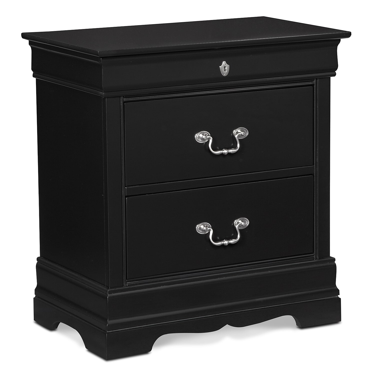 Neo classic nightstand black value city furniture for Classic furniture products vadodara