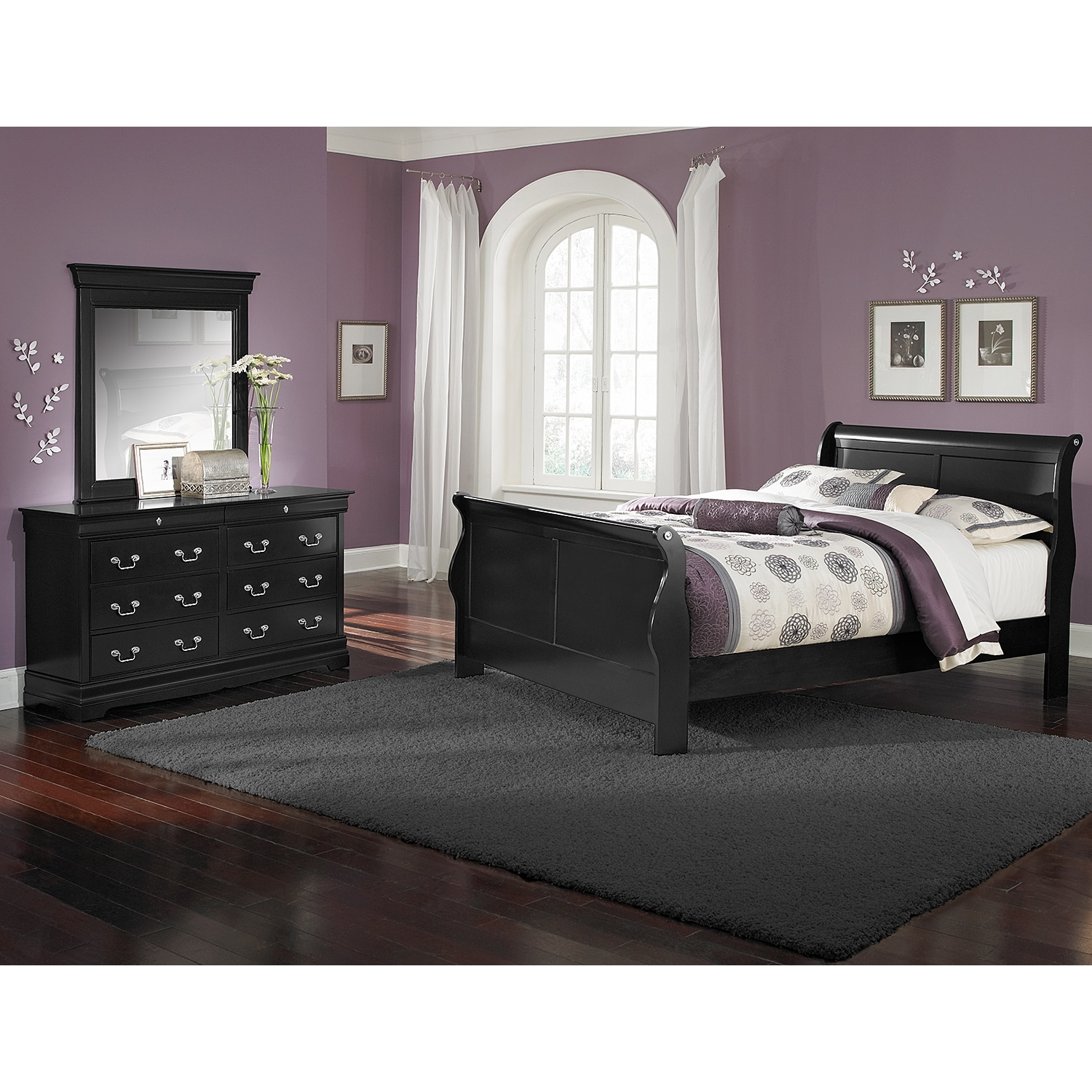 [Neo Classic Black II 5 Pc. Full Bedroom]