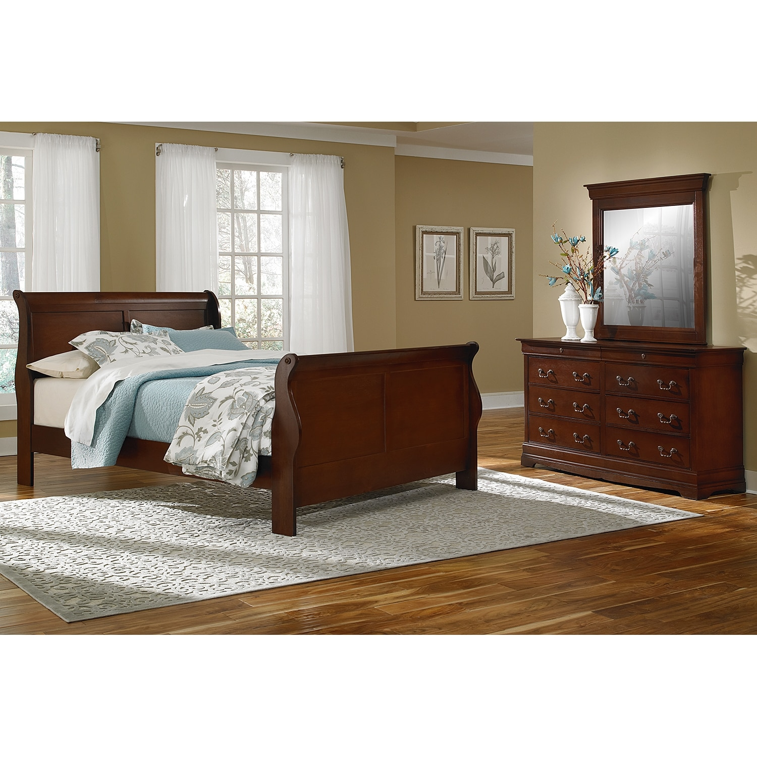 bedroom furniture avignon cherry 5 pc king bedroom