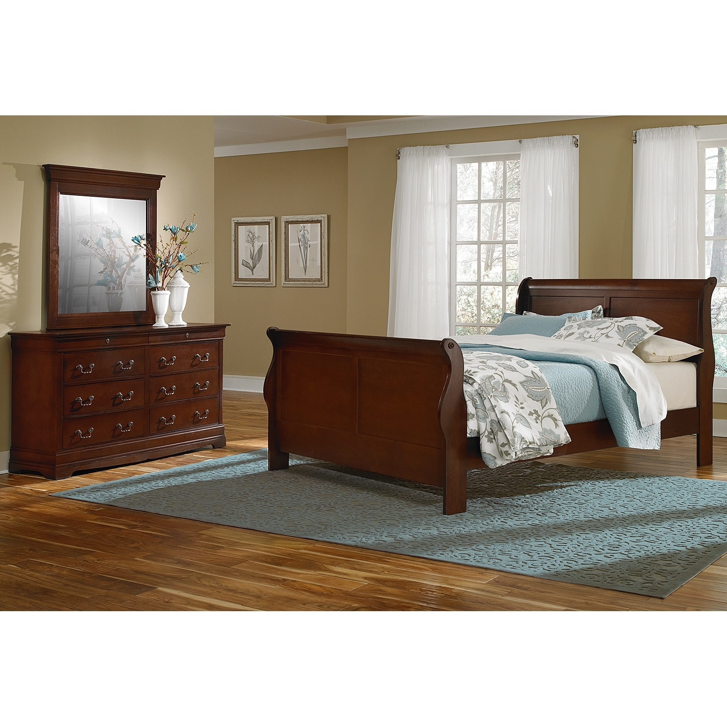 Neo classic youth 5 piece twin bedroom set cherry for Youth furniture