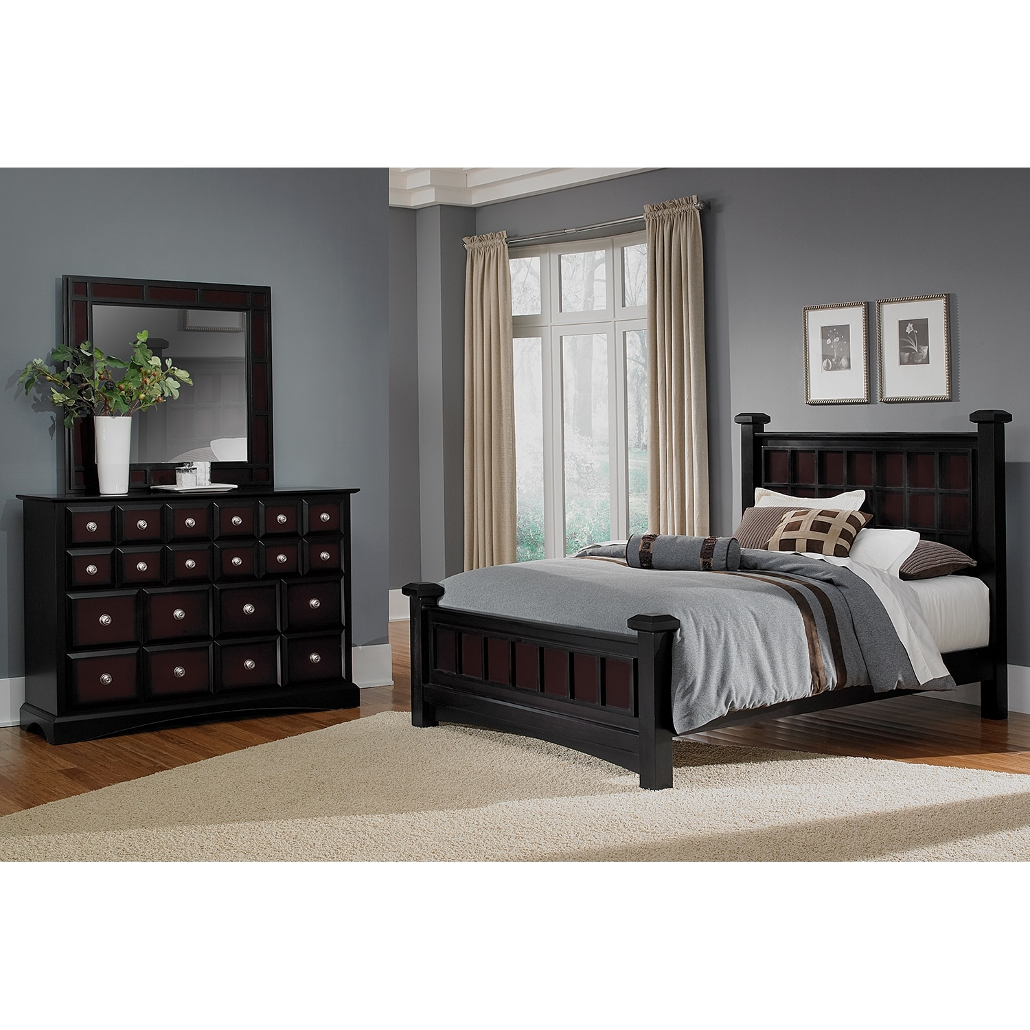 winchester 5 piece king bedroom set black and burnished merlot value city furniture. Black Bedroom Furniture Sets. Home Design Ideas
