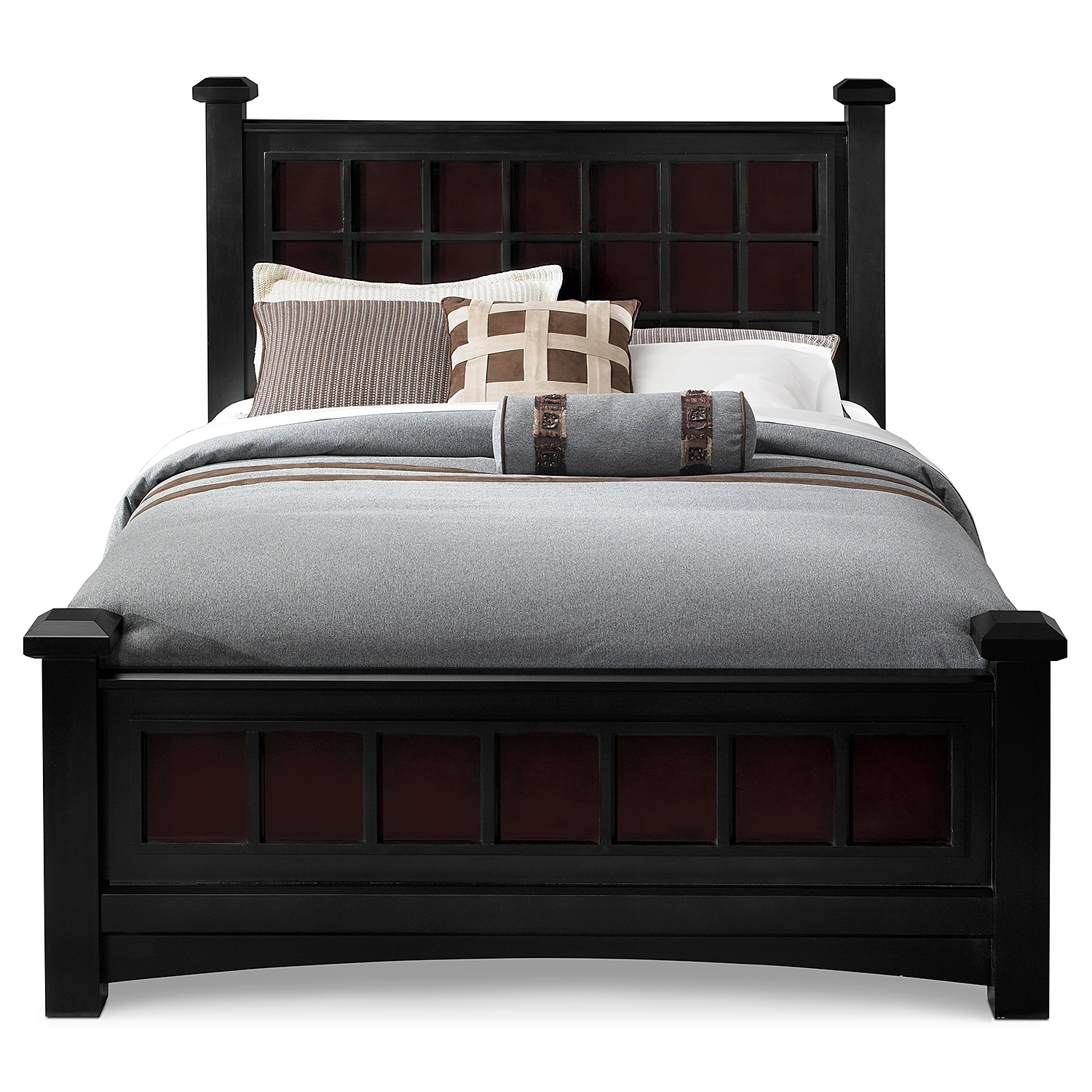 Winchester king bed black and burnished merlot value for Furniture and beds