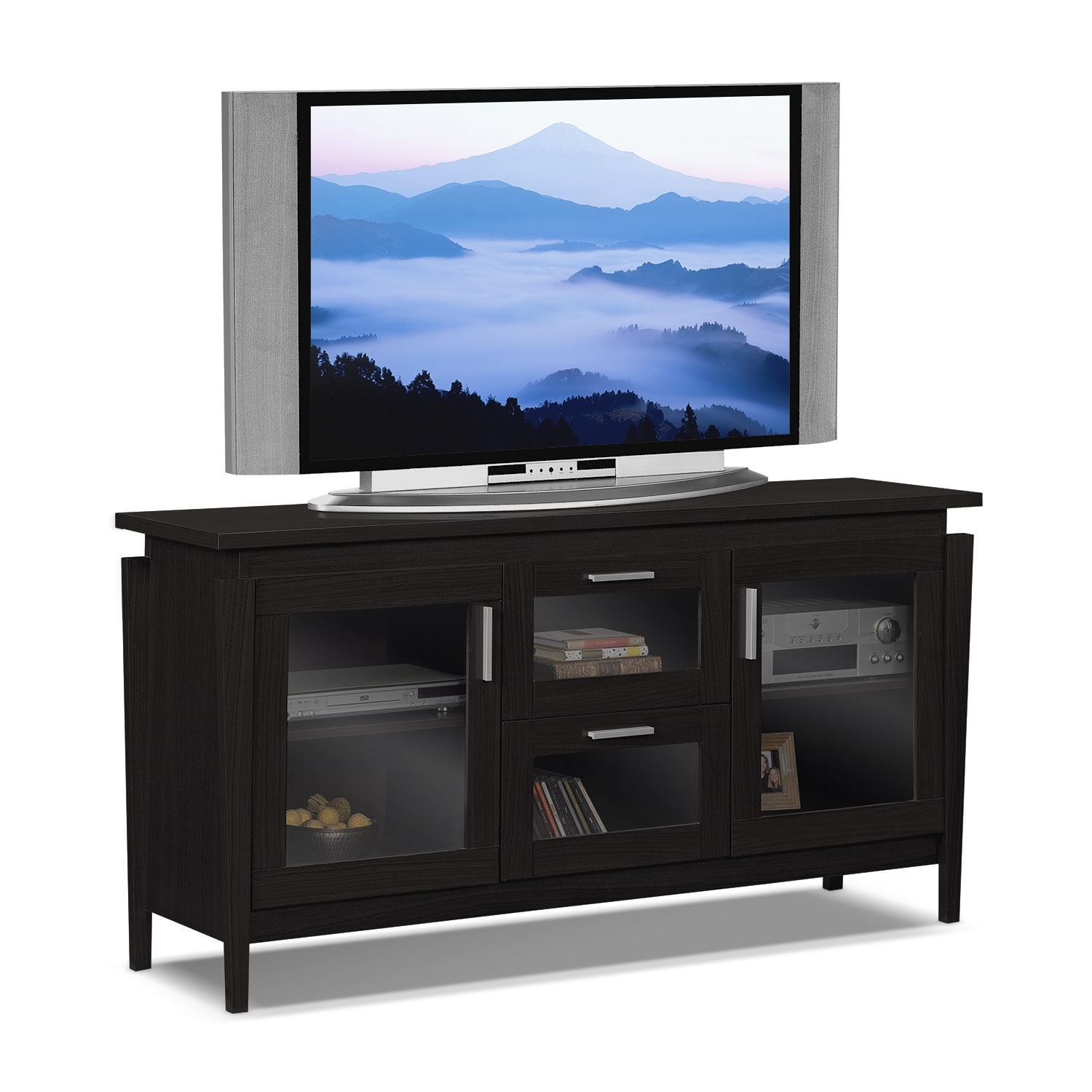saber 60 tv stand merlot value city furniture. Black Bedroom Furniture Sets. Home Design Ideas