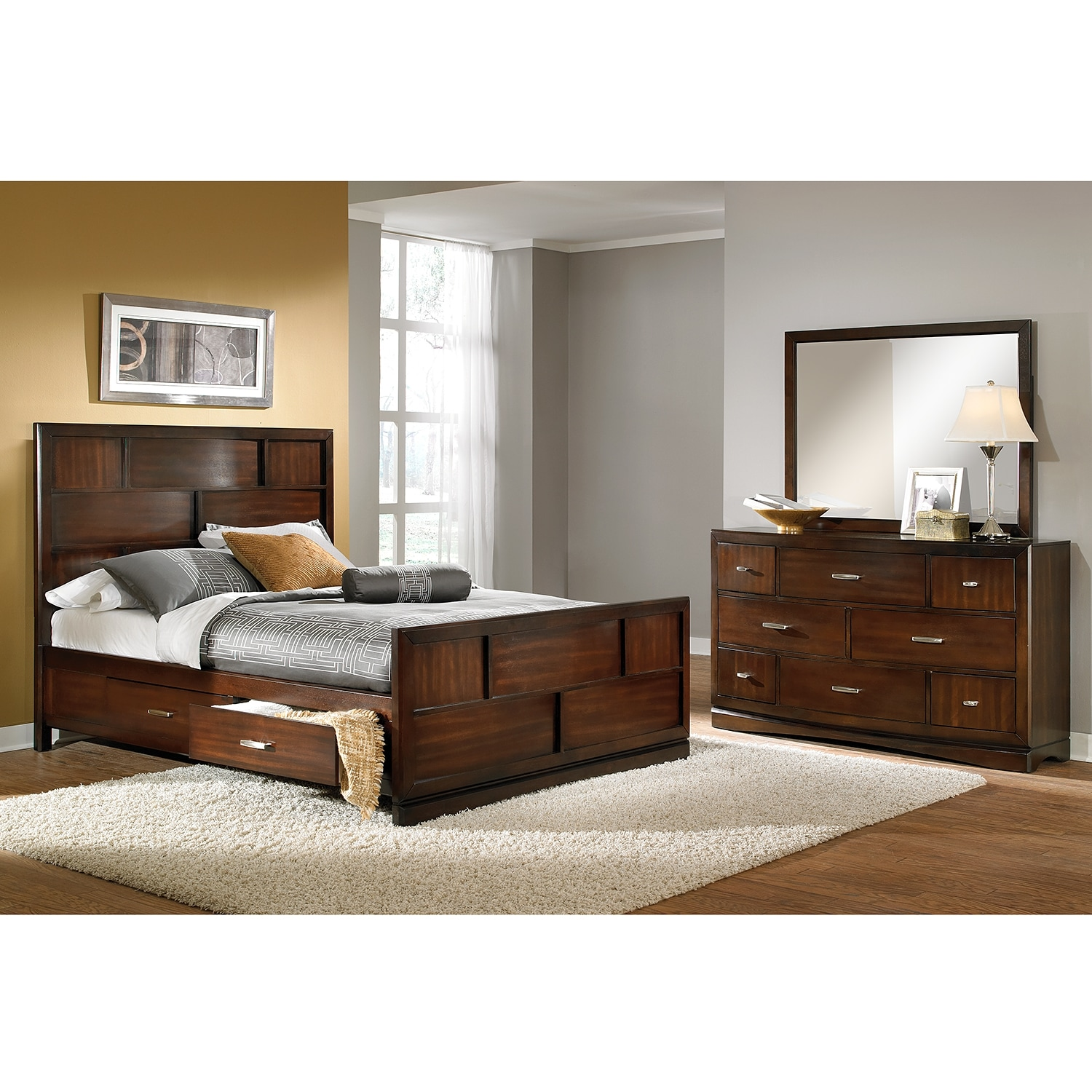 Bedroom Set Furniture ~ Toronto piece king storage bedroom set pecan