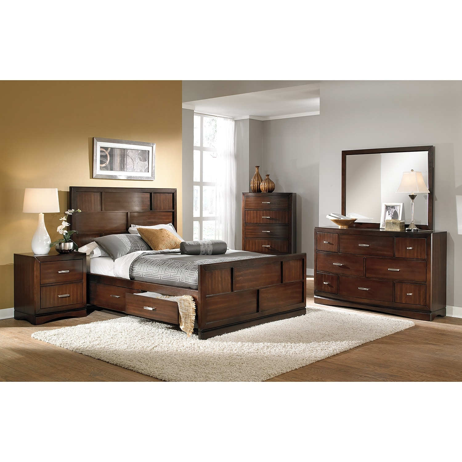 Toronto queen storage bed pecan american signature for Signature furniture