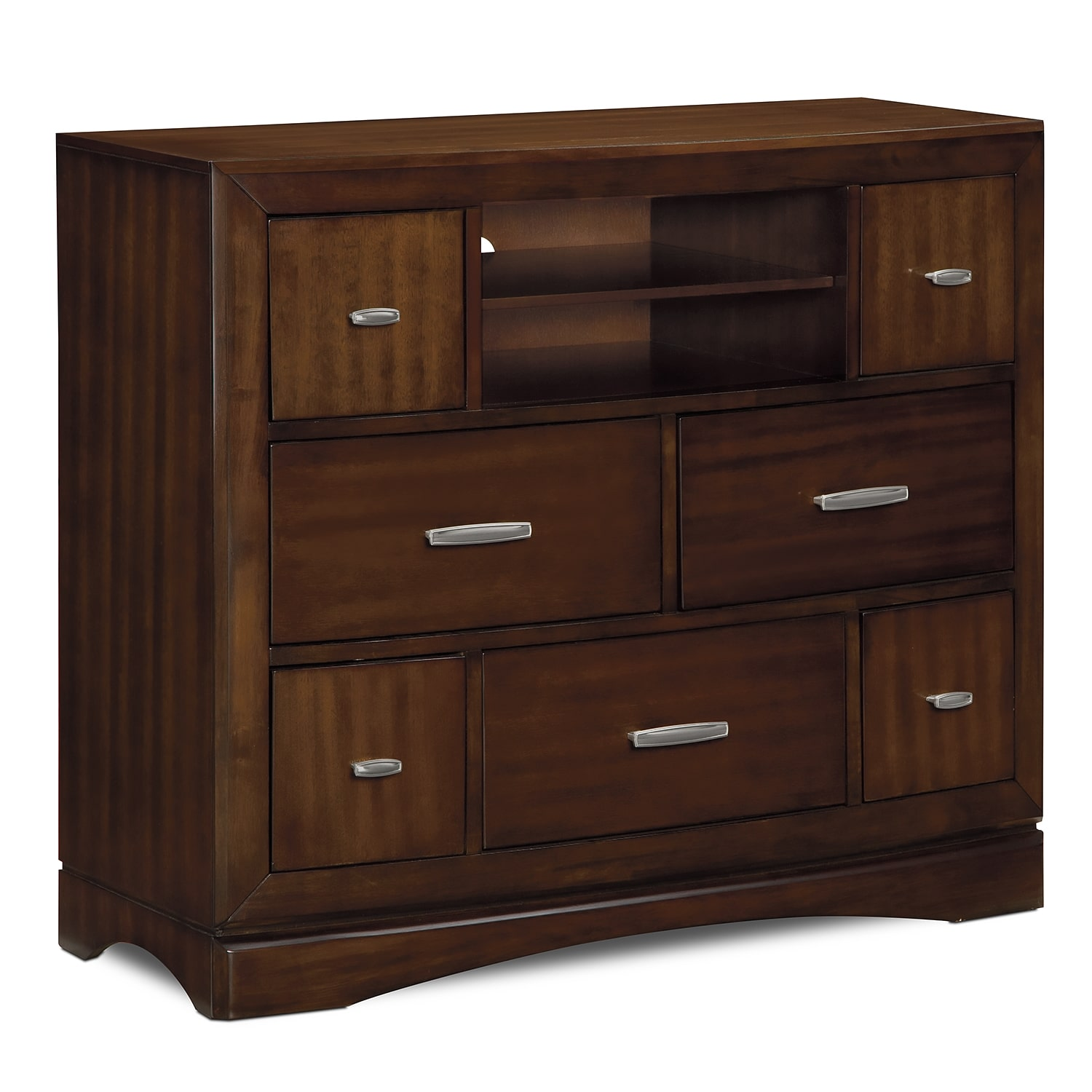 toronto media chest pecan value city furniture. Black Bedroom Furniture Sets. Home Design Ideas