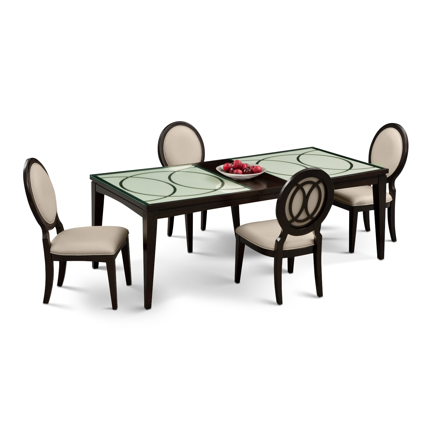 Cosmo table and 4 chairs merlot value city furniture for 4 dining room chairs
