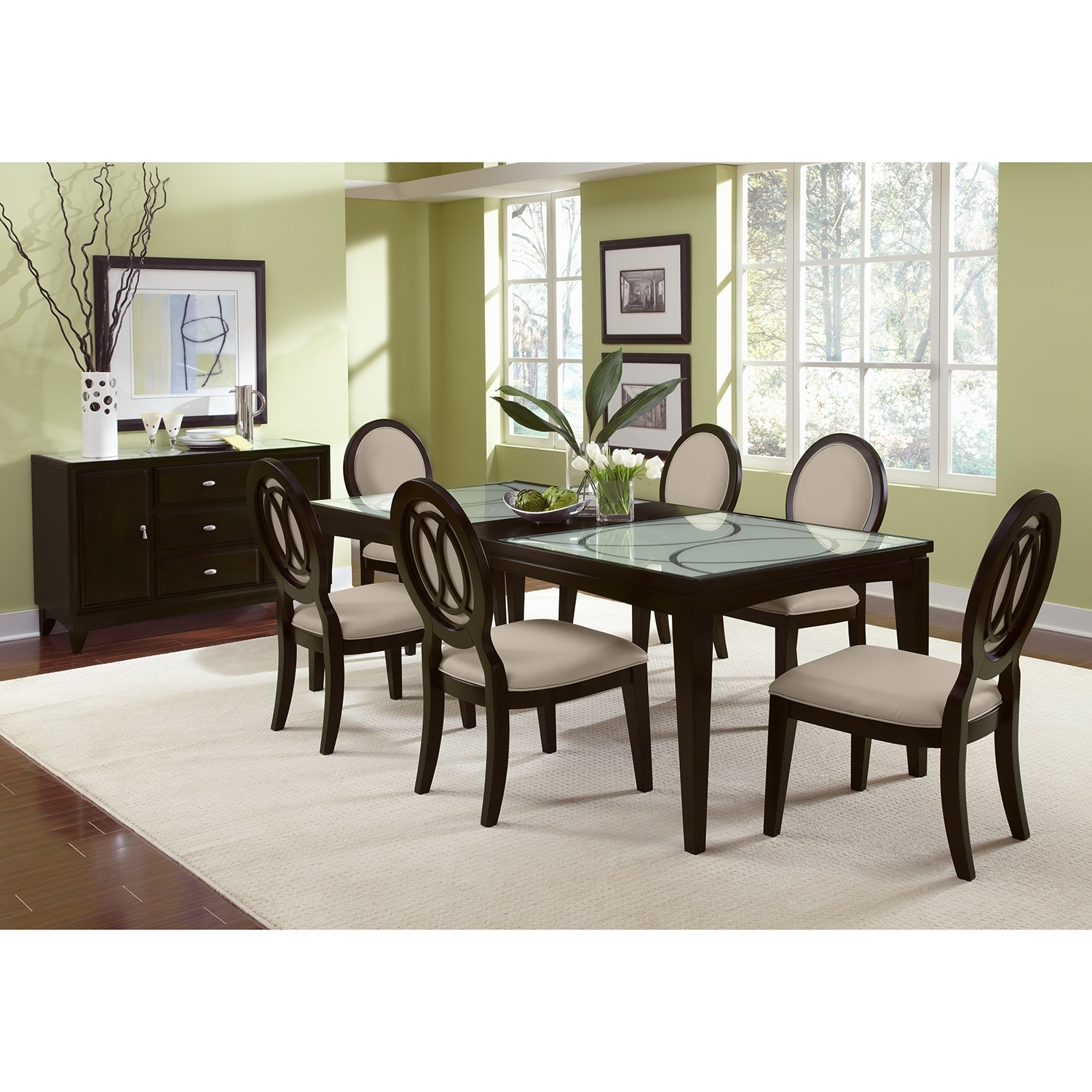 Cosmo 7 pc dining room value city furniture for Dining room collections