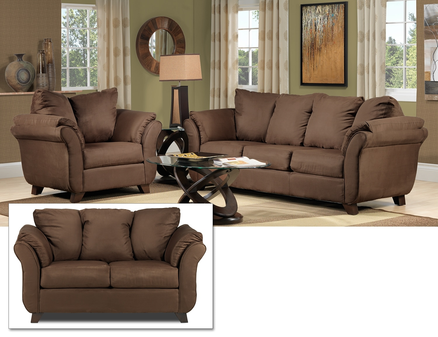 Collier 3 Pc. Living Room Package - Chocolate