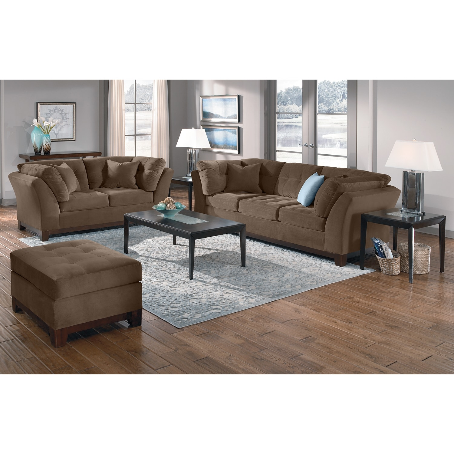 Solace Cocoa Upholstery Loveseat Value City Furniture