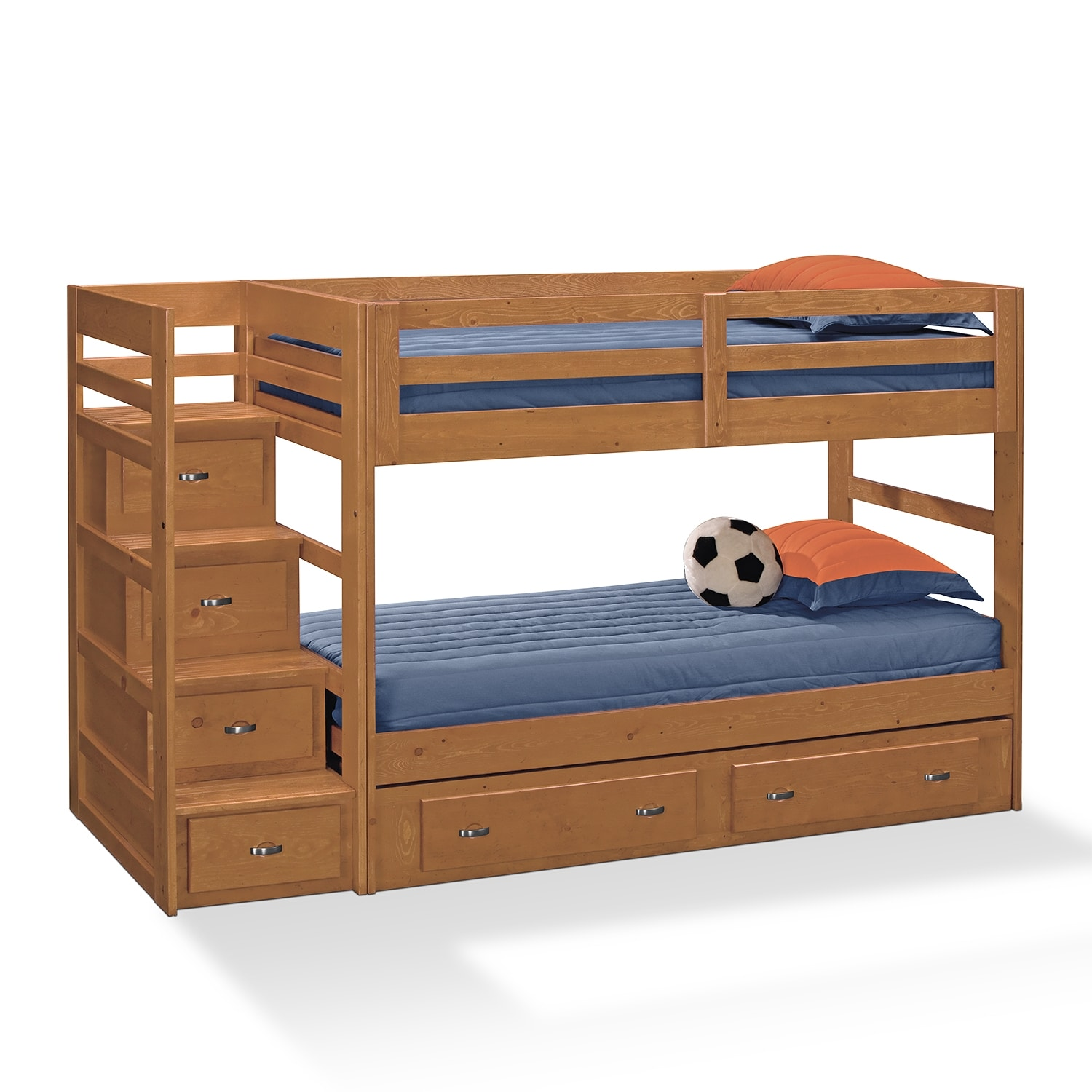 Varsity Pine III Kids Furniture Twin Bunk Bed with Stairs and ...