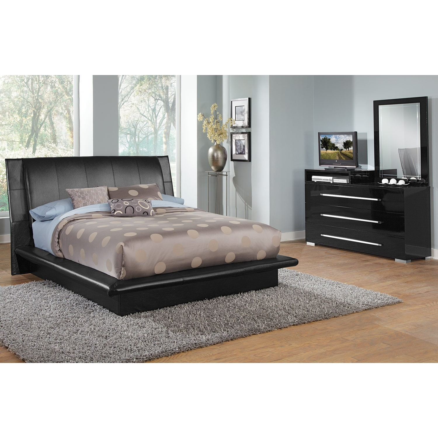 Dimora black 5 pc queen bedroom value city furniture for Cheap bedroom furniture packages