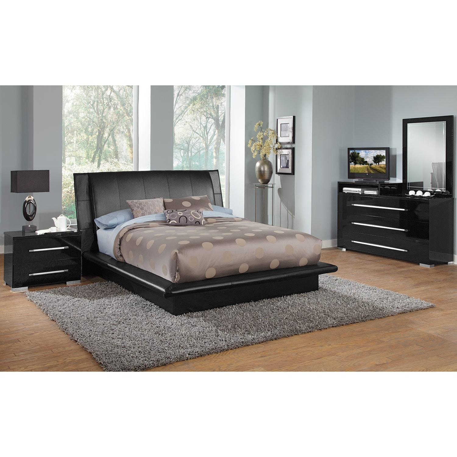 Dimora black queen bed value city furniture for Bedroom furniture beds