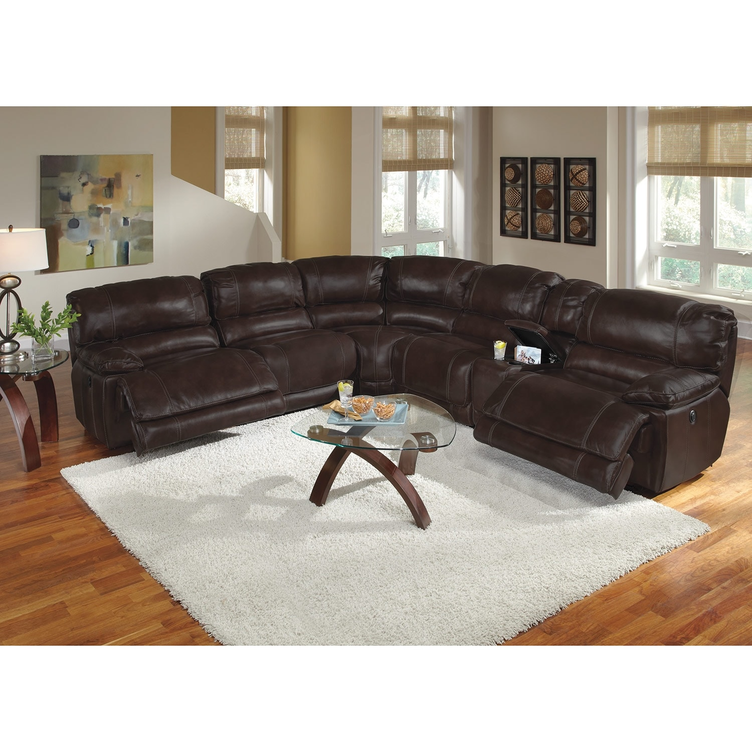 Midori 6 Pc Leather Power Reclining Sectional Sofa: St. Malo Leather 6 Pc. Power Reclining Sectional