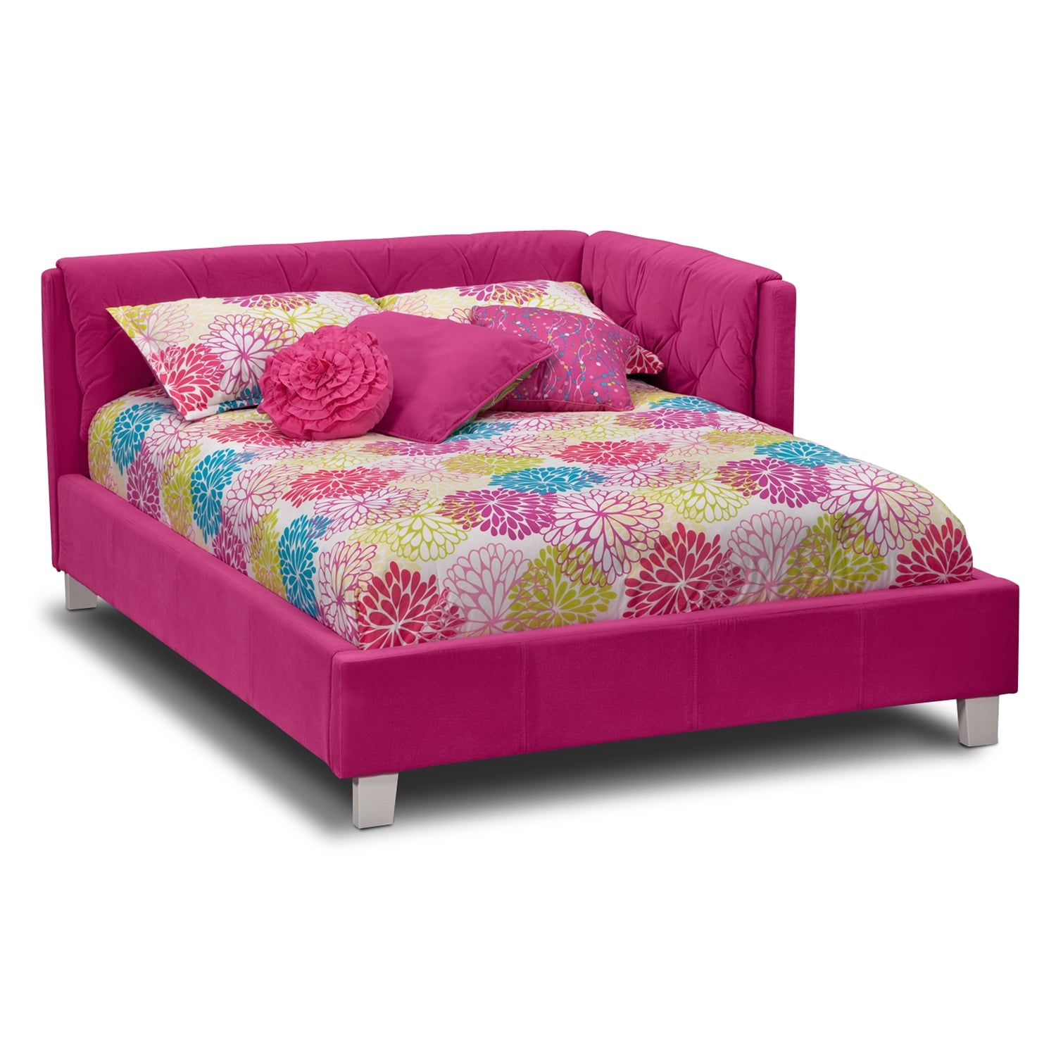 Taylor pink kids furniture full corner bed for Youth furniture