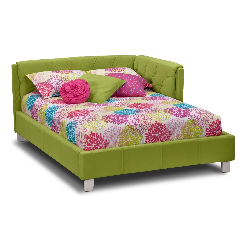 Jordan full corner bed green value city furniture for Jordans furniture bedroom sets